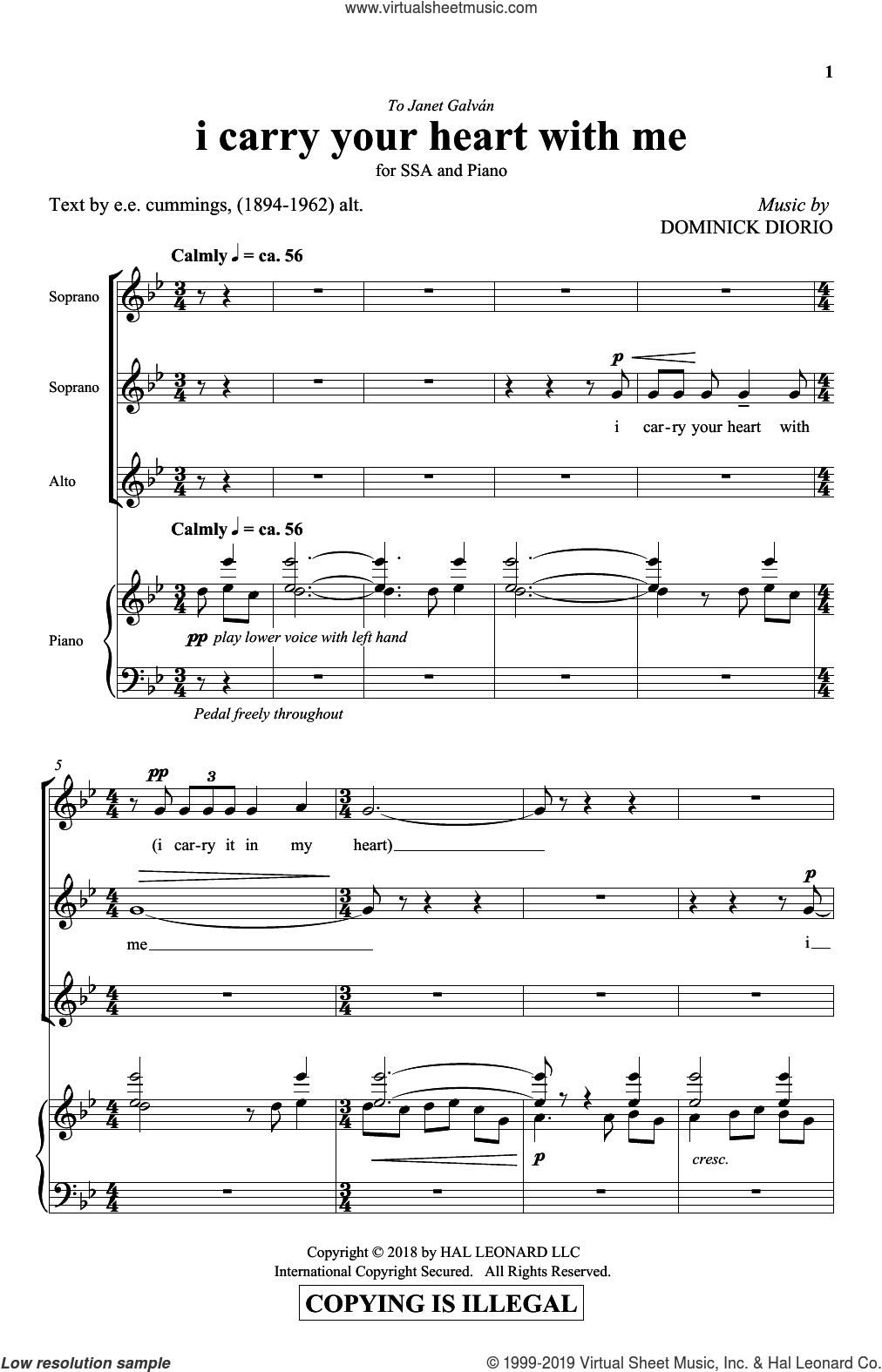 I Carry Your Heart sheet music for choir (SSA: soprano, alto) by Dominick DiOrio, E.E. Cummings and e.e. cummings & Dominick DiOrio, intermediate skill level