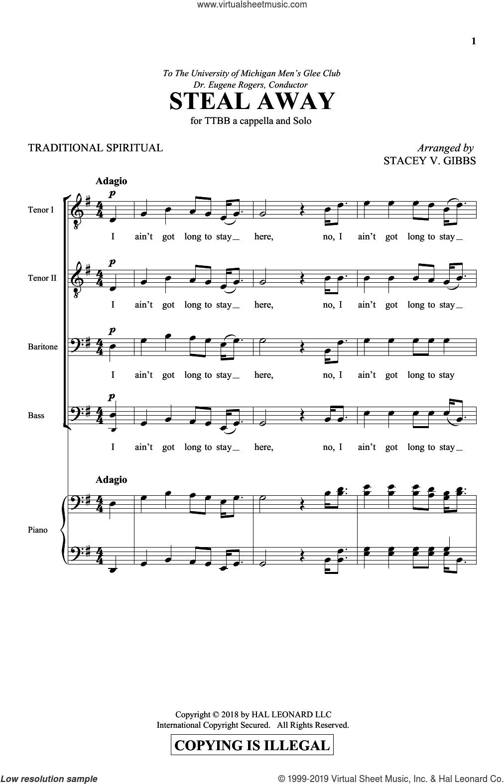 Steal Away sheet music for choir (TTBB: tenor, bass) by Stacey Gibbs and Miscellaneous, intermediate skill level