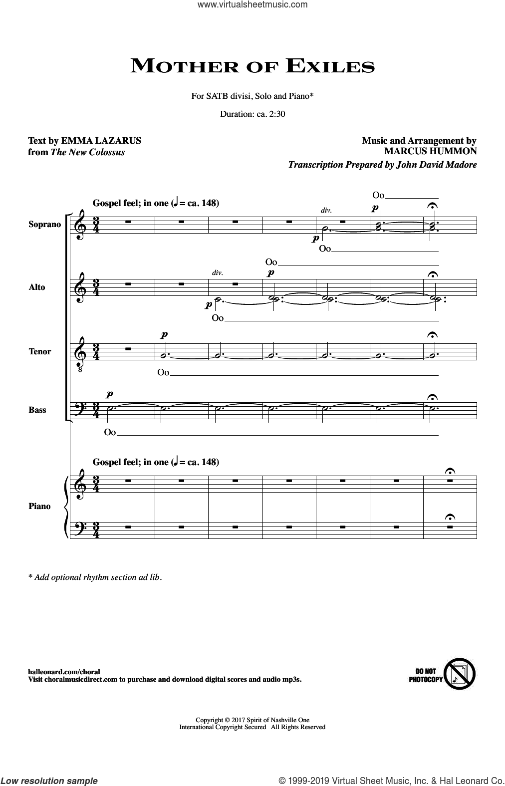 Mother Of Exiles sheet music for choir by Emma Lazarus & Marcus Hummon, Emma Lazarus and Marcus Hummon, intermediate skill level