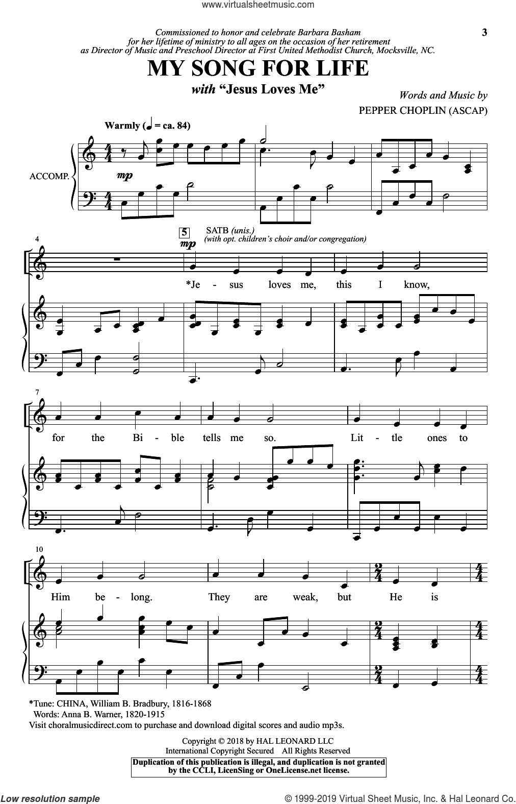 My Song For Life (With 'Jesus Loves Me') sheet music for choir (SATB: soprano, alto, tenor, bass) by Pepper Choplin, Anna B. Warner and William Bradbury, intermediate skill level