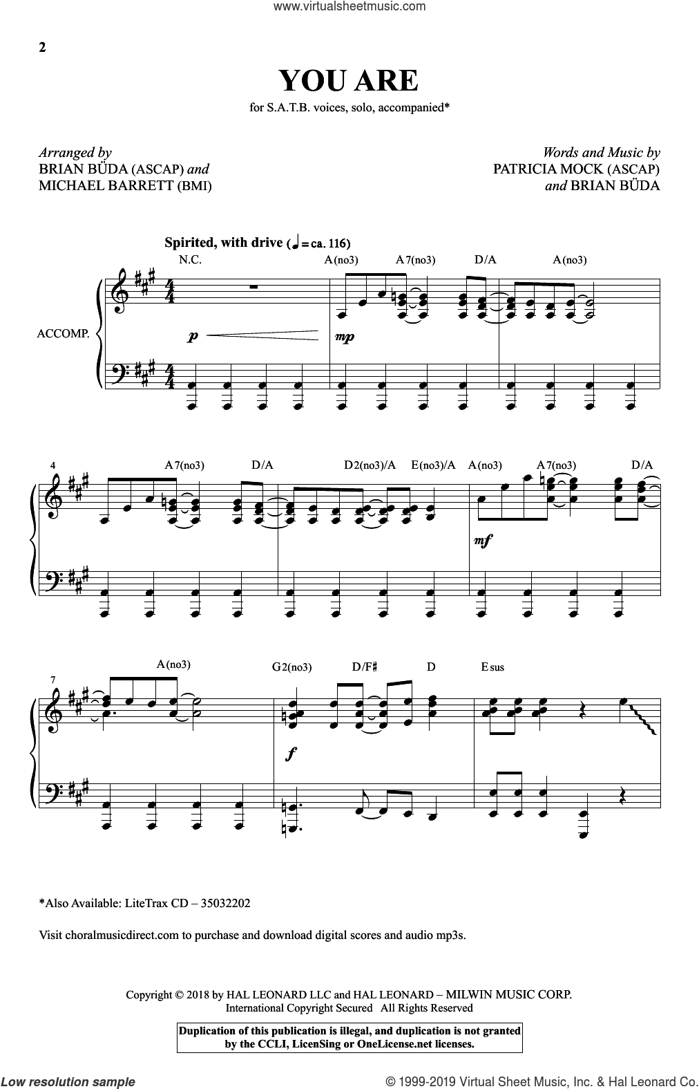 You Are (Brian Buda and Michael Barrett) sheet music for choir (SATB: soprano, alto, tenor, bass) by Michael Barrett, Brian Buda, Patricia Mock and Patricia Mock & Brian Buda, intermediate skill level