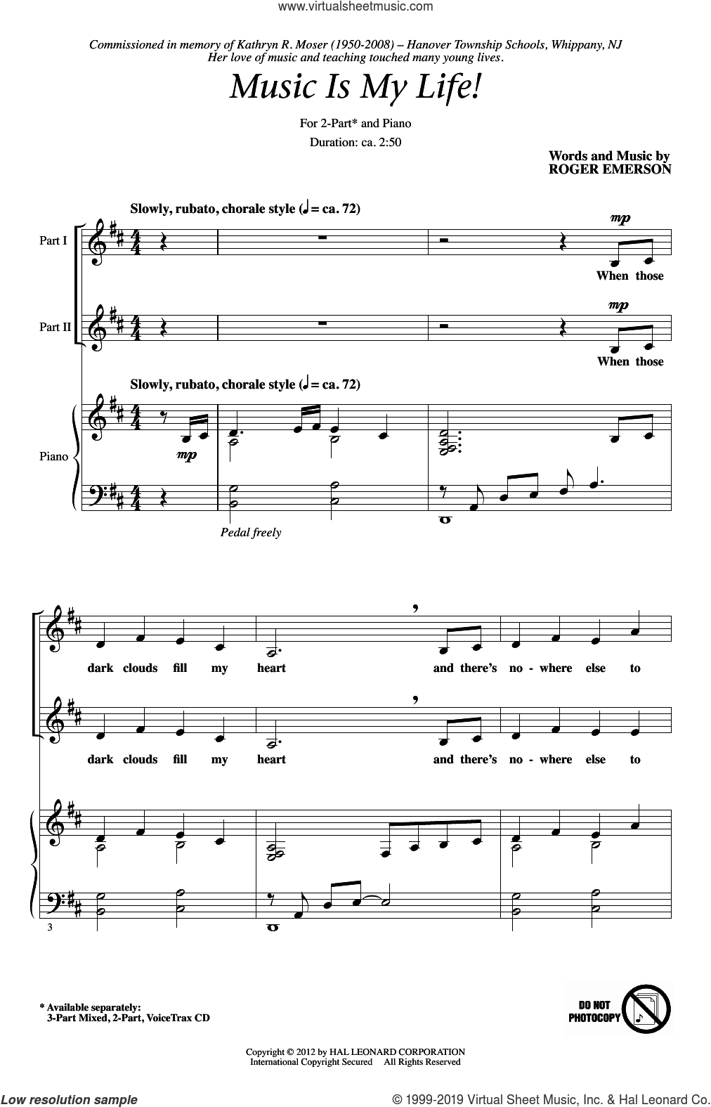 Music Is My Life! sheet music for choir (2-Part) by Roger Emerson, intermediate duet