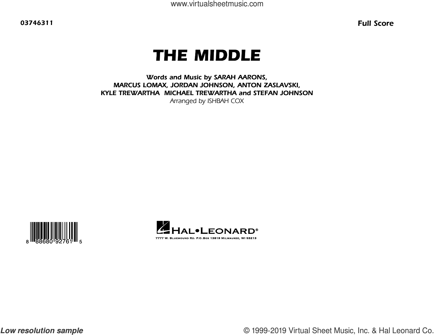 The Middle (arr. Ishbah Cox) (COMPLETE) sheet music for marching band by Ishbah Cox and Zedd, Maren Morris & Grey, intermediate skill level