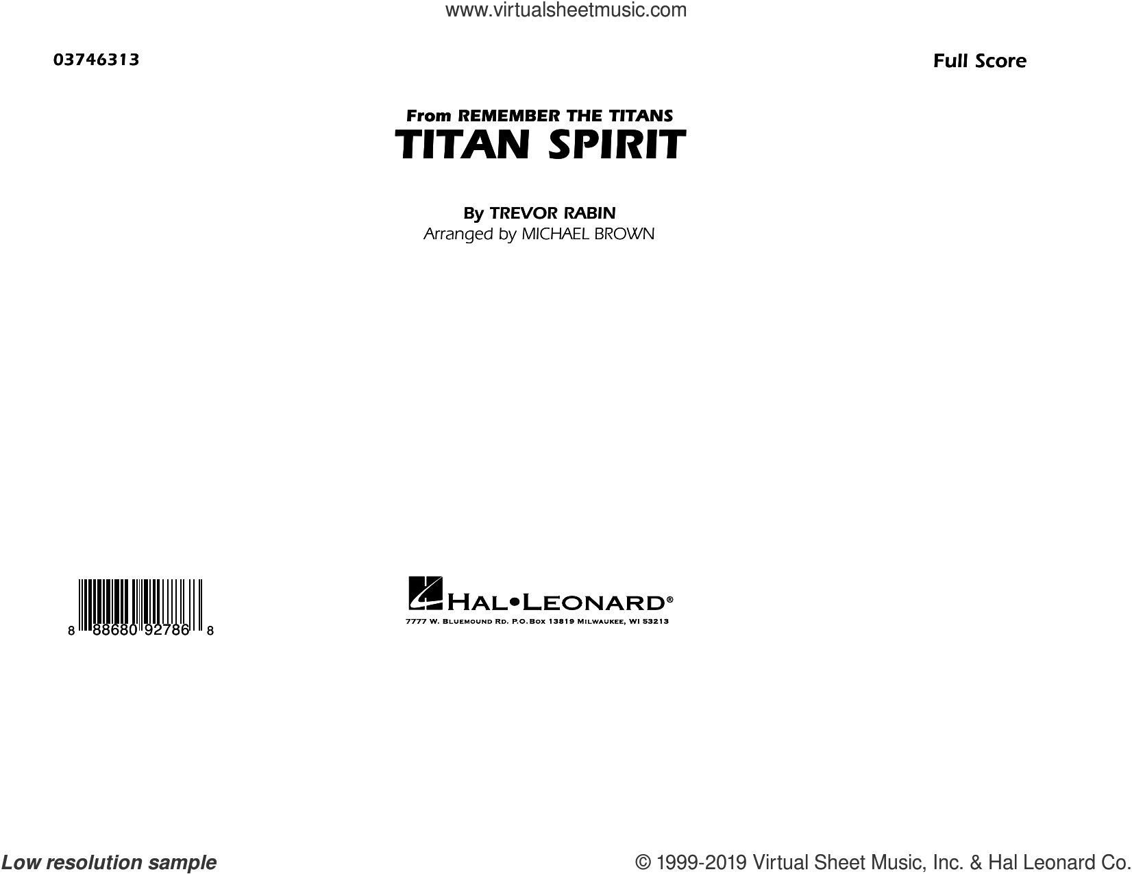 Titan Spirit (from Remember the Titans) (arr. Michael Brown) (COMPLETE) sheet music for marching band by Michael Brown and Trevor Rabin, intermediate skill level