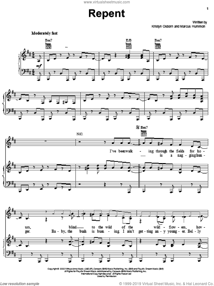 Repent sheet music for voice, piano or guitar by Marcus Hummon