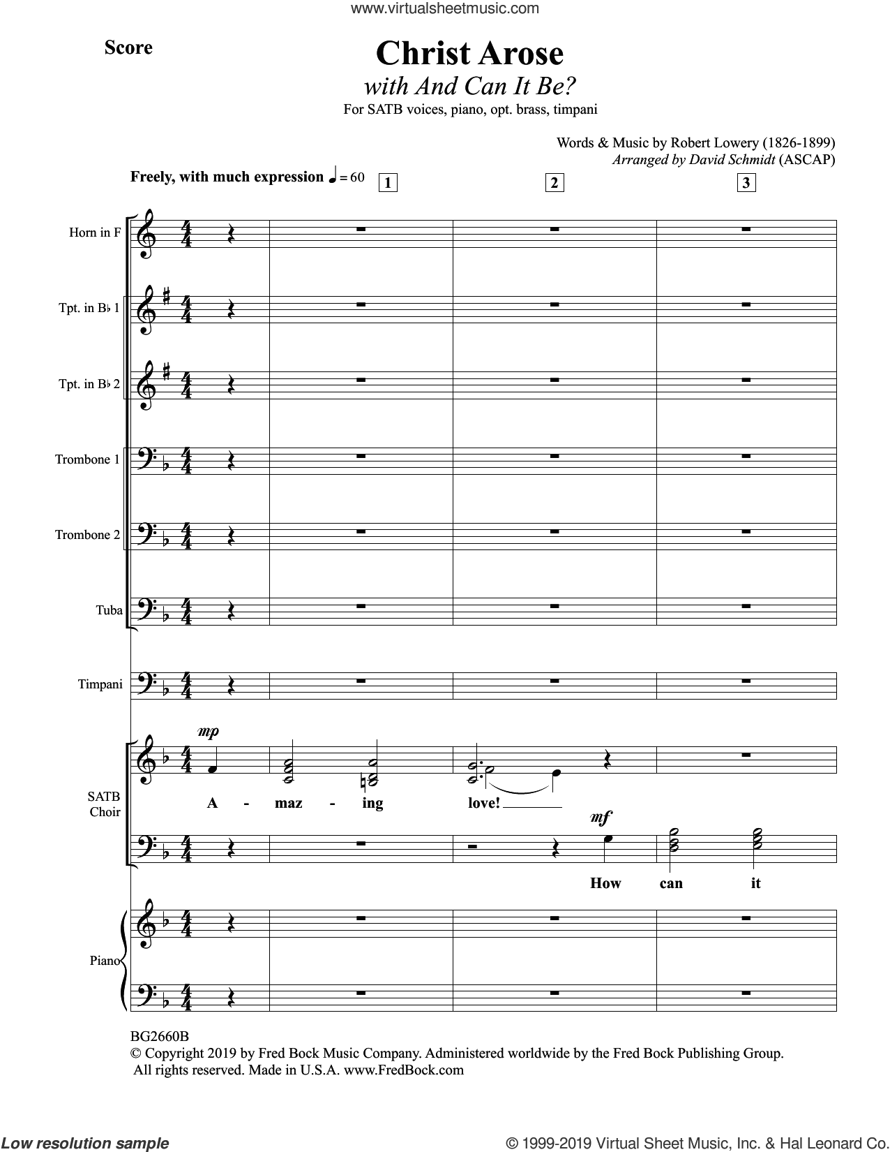 Christ Arose (with And Can It Be?) (arr. David Schmidt) (COMPLETE) sheet music for orchestra/band by Robert Lowry and David Schmidt, intermediate skill level