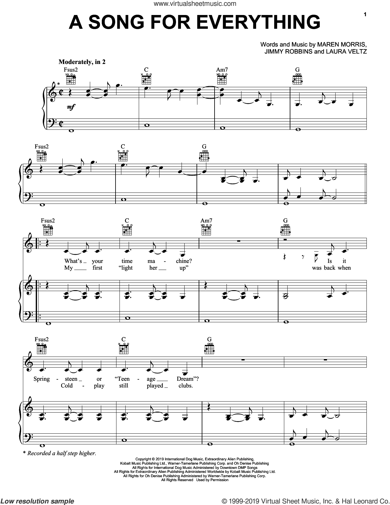 A Song For Everything sheet music for voice, piano or guitar by Maren Morris, Jimmy Robbins and Laura Veltz, intermediate skill level