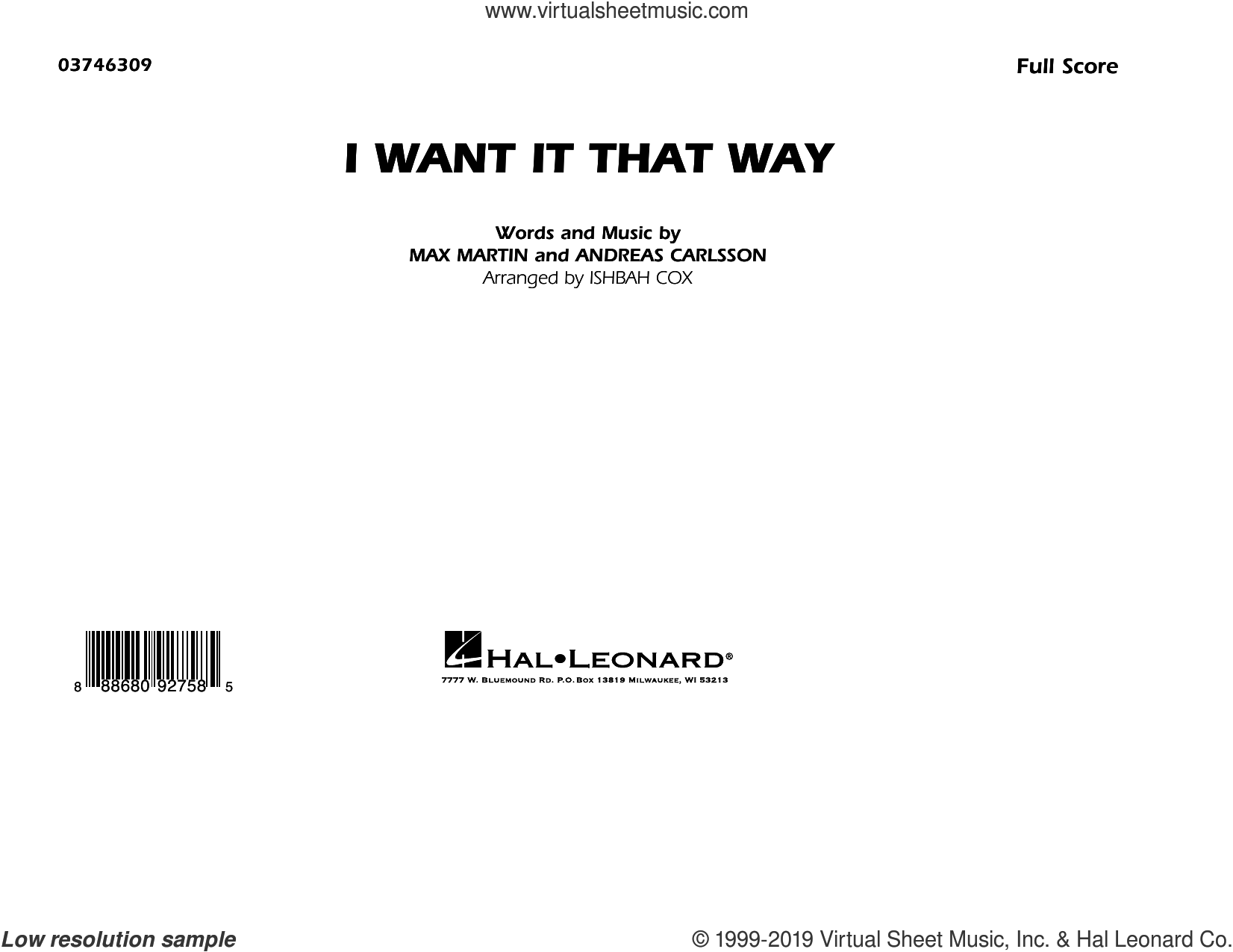 I Want It That Way (arr. Ishbah Cox) (COMPLETE) sheet music for marching band by Backstreet Boys, Andreas Carlsson, Ishbah Cox and Max Martin, intermediate skill level