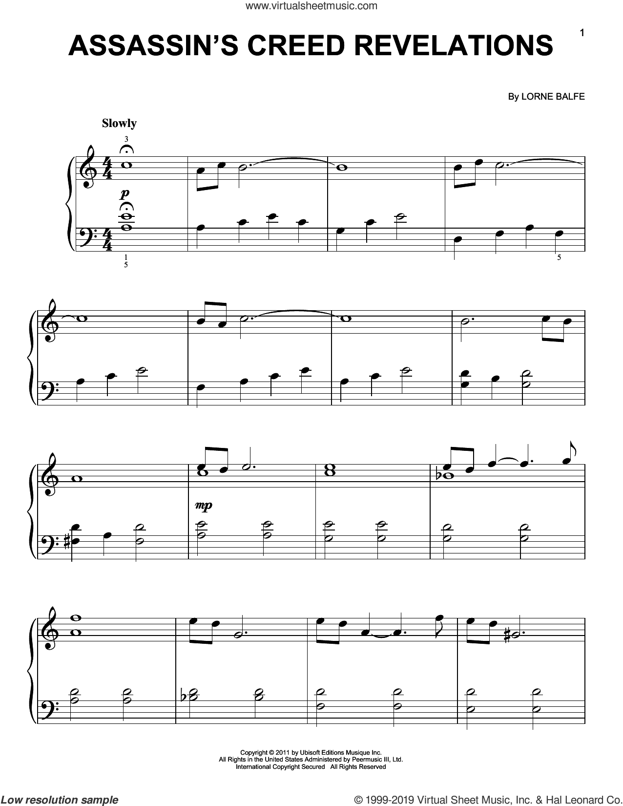 Assassin's Creed Revelations sheet music for piano solo by Lorne Balfe, easy skill level