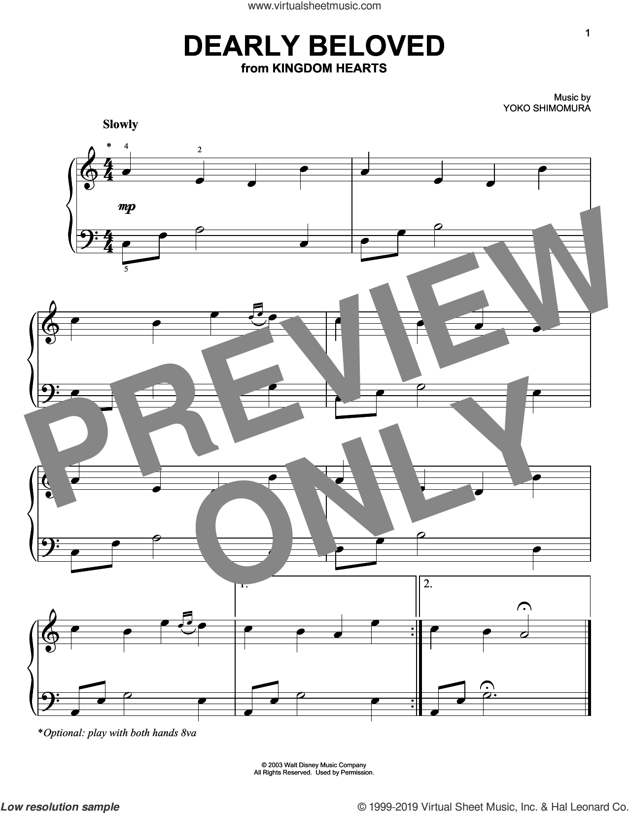 Dearly Beloved (from Kingdom Hearts) sheet music for piano solo by Yoko Shimomura, easy skill level