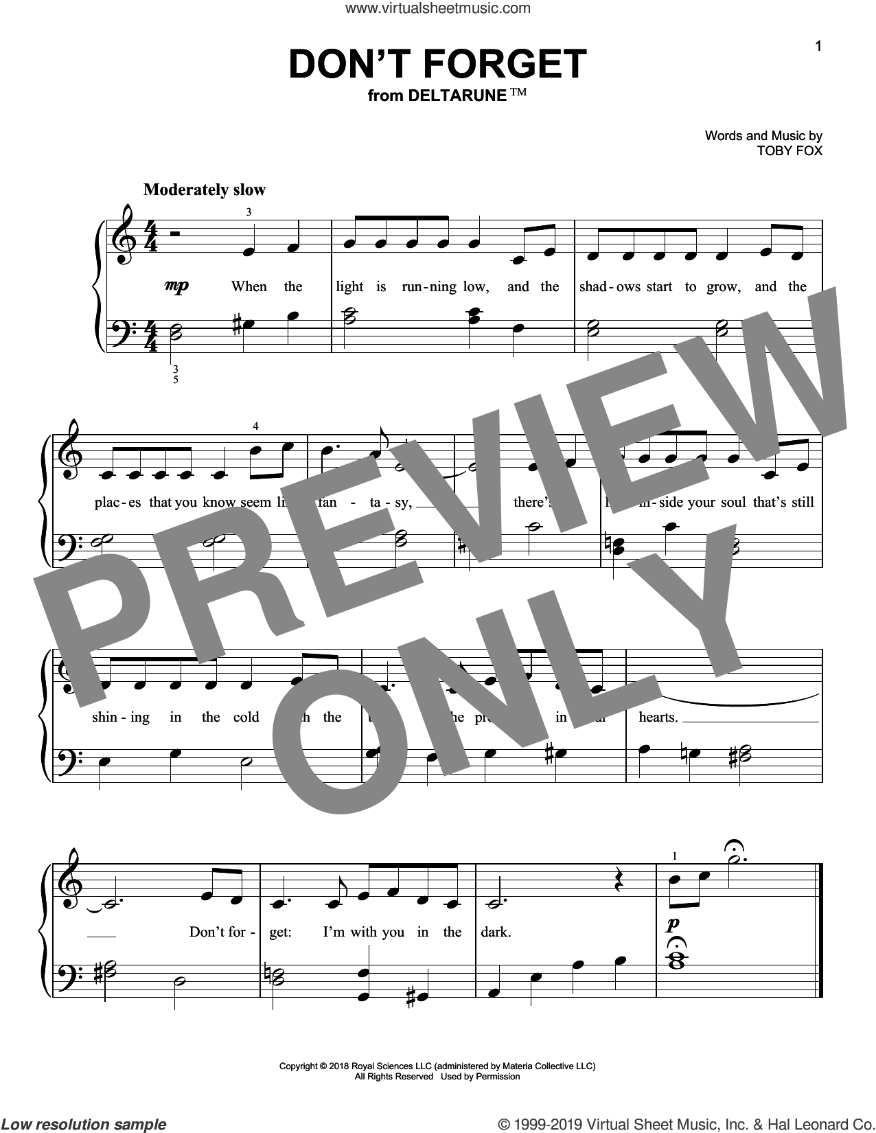 Don't Forget (from Deltarune) sheet music for piano solo by Toby Fox, easy skill level