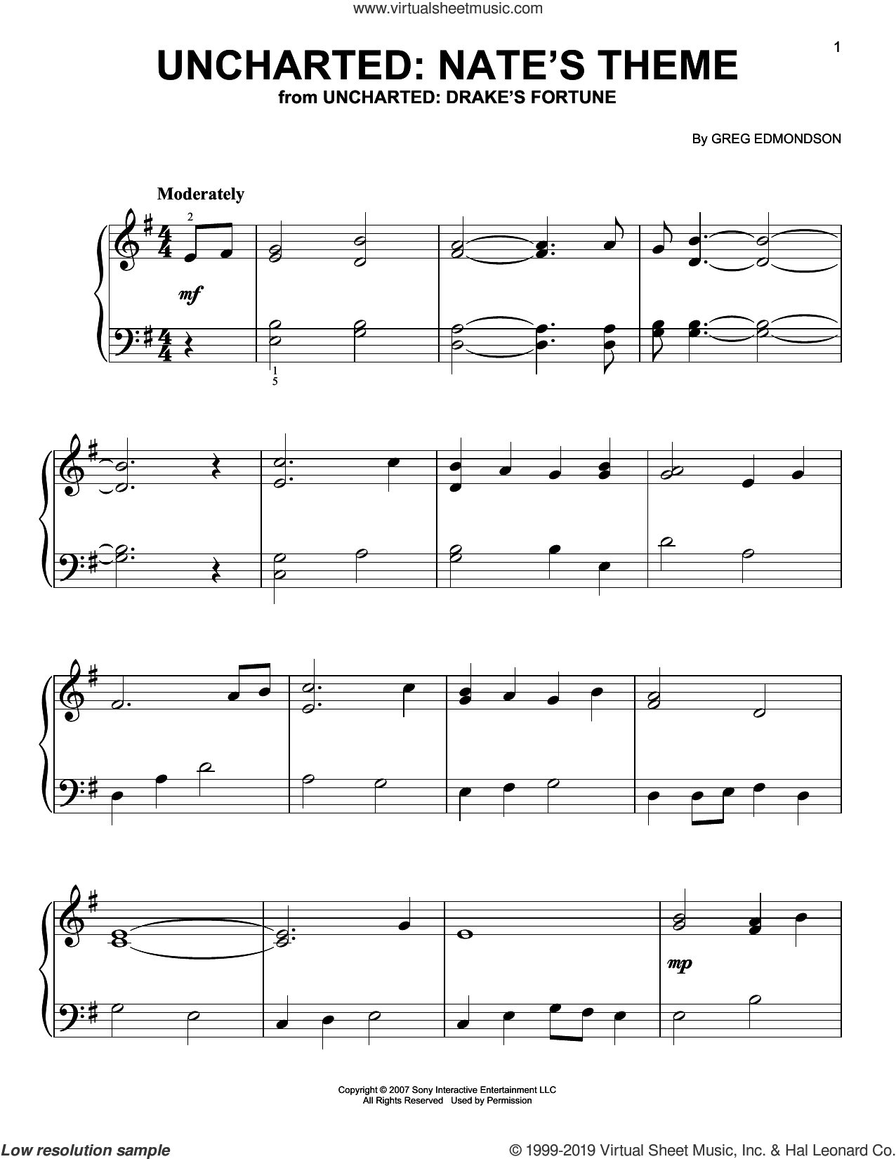Uncharted: Nate's Theme sheet music for piano solo by Greg Edmonson, easy skill level