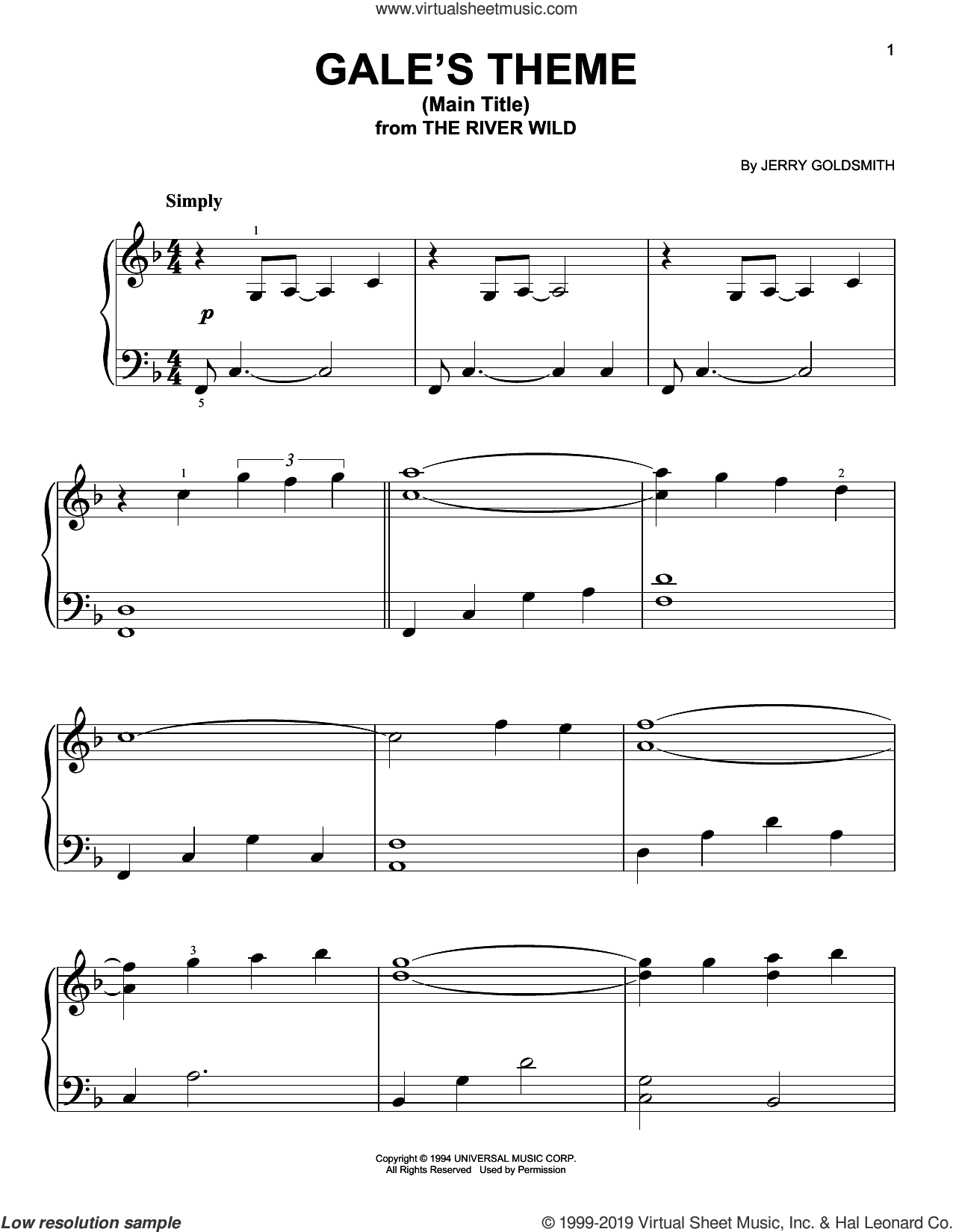 Gale's Theme (Main Title) sheet music for piano solo by Jerry Goldsmith, easy skill level