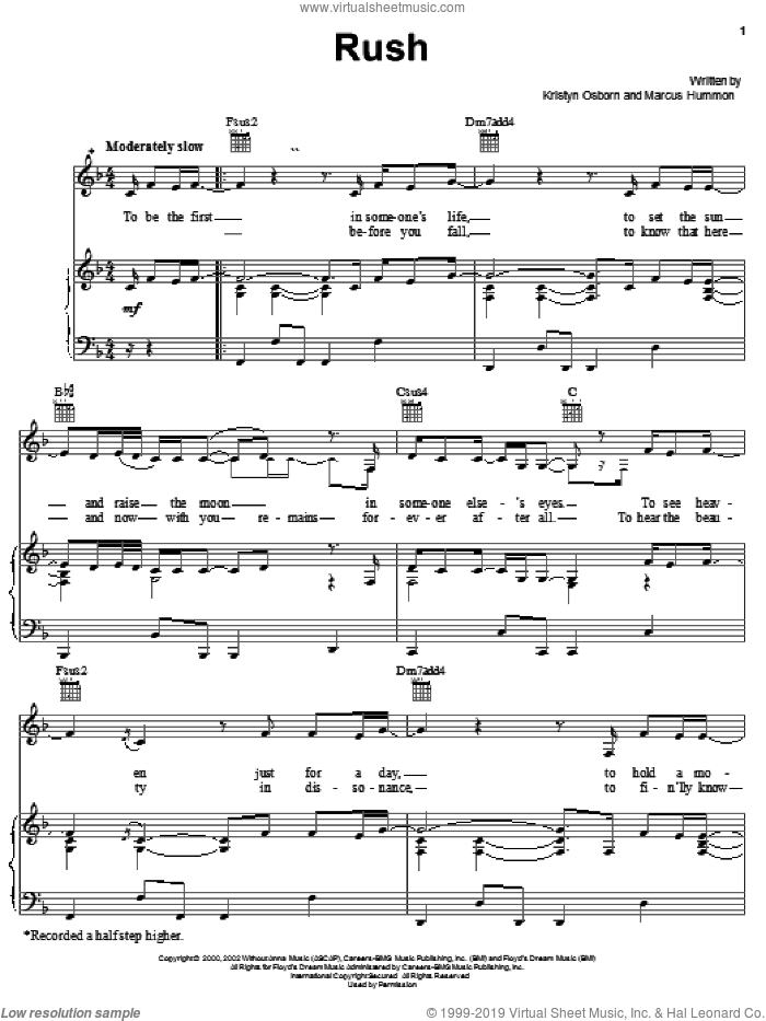 Rush sheet music for voice, piano or guitar by Marcus Hummon, SHeDAISY and Kristyn Osborn