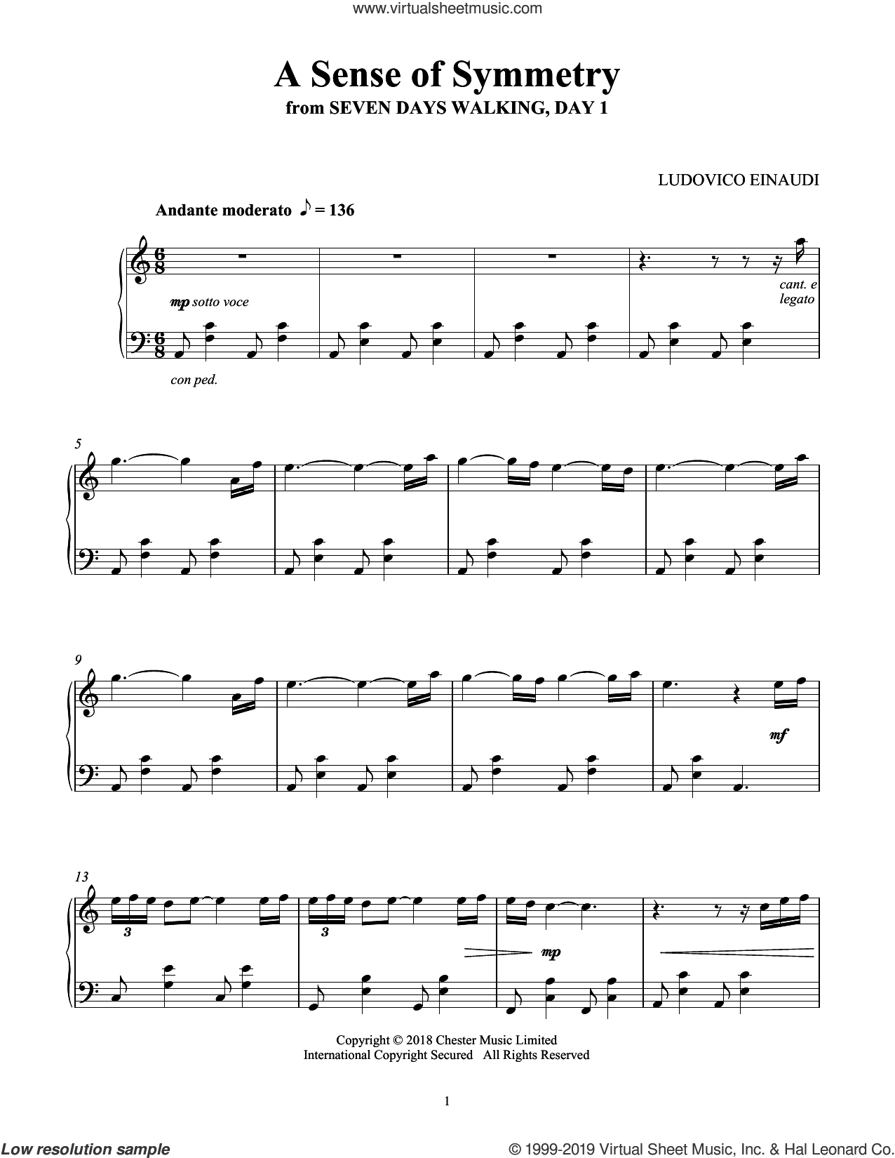 A Sense Of Symmetry (from Seven Days Walking: Day 1) sheet music for piano solo by Ludovico Einaudi, classical score, intermediate skill level