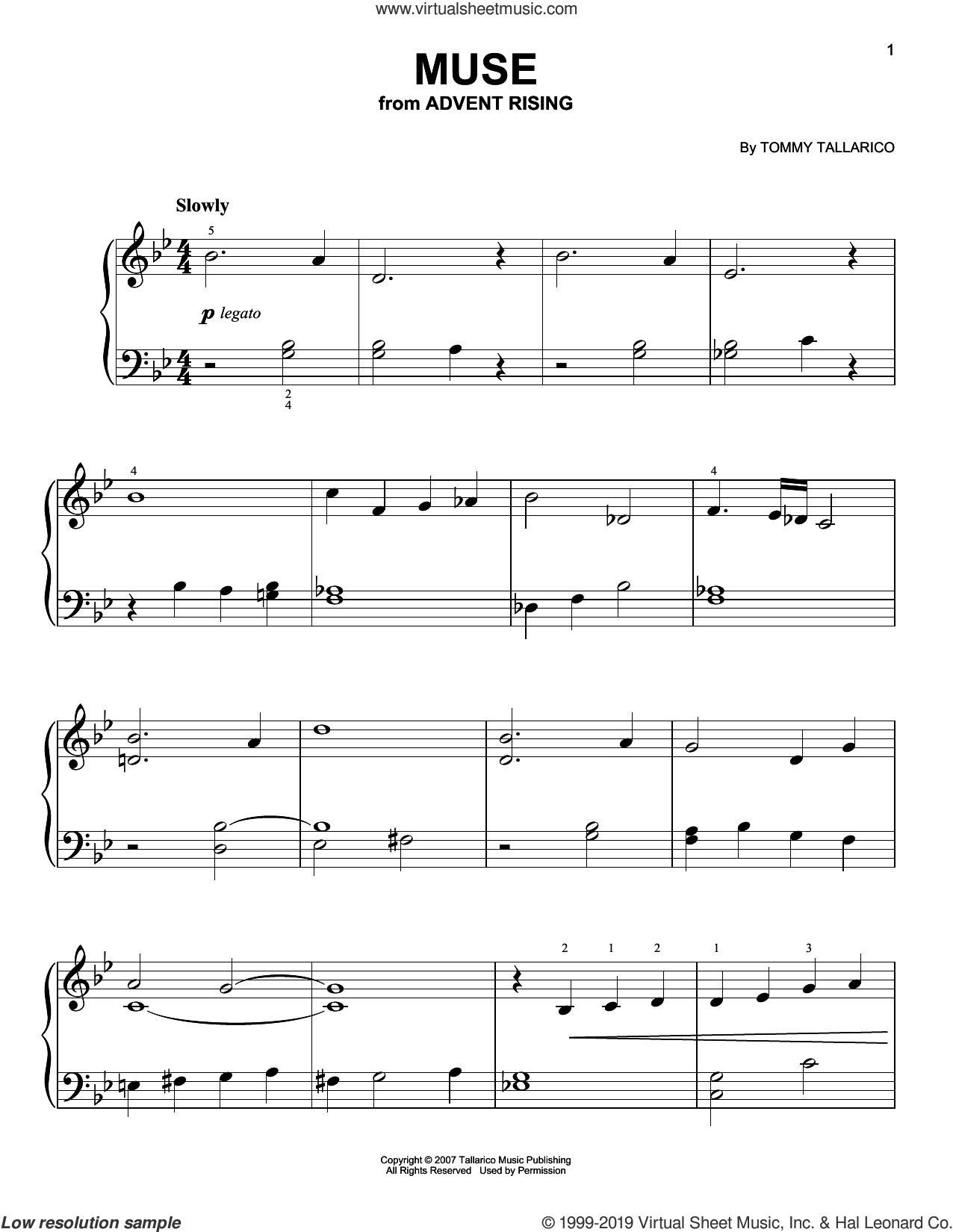 Muse (from Advent Rising) sheet music for piano solo by Tommy Tallarico, easy skill level