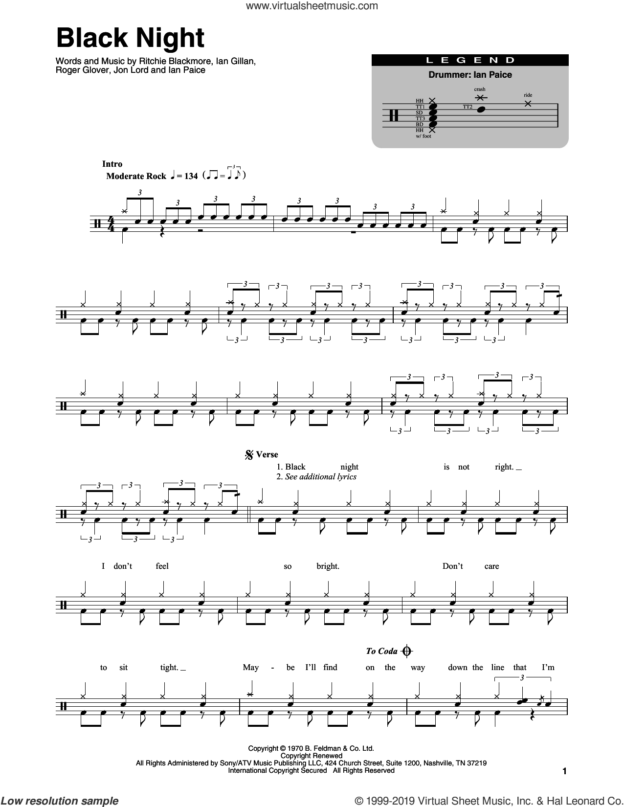 Black Night sheet music for drums by Deep Purple, Ian Gillan, Ian Paice, Jon Lord, Ritchie Blackmore and Roger Glover, intermediate skill level