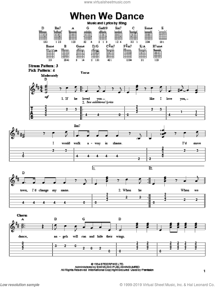 When We Dance sheet music for guitar solo (easy tablature) by Sting, easy guitar (easy tablature)