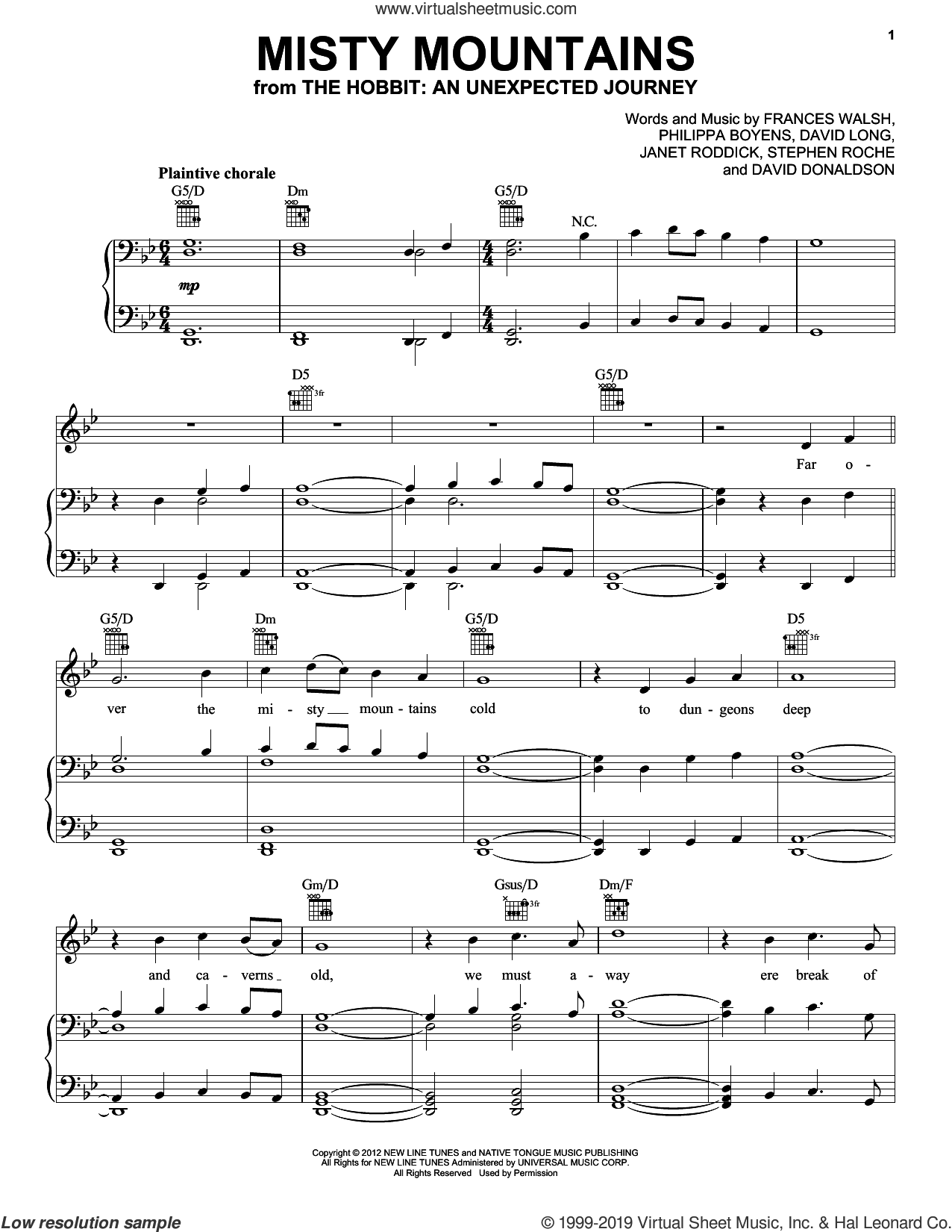 Misty Mountains (from The Hobbit: An Unexpected Journey) sheet music for voice, piano or guitar by Howard Shore, David Donaldson, Fran Walsh, Janet Roddick, Philippa Jane Boyens and Stephen Roche, classical score, intermediate skill level