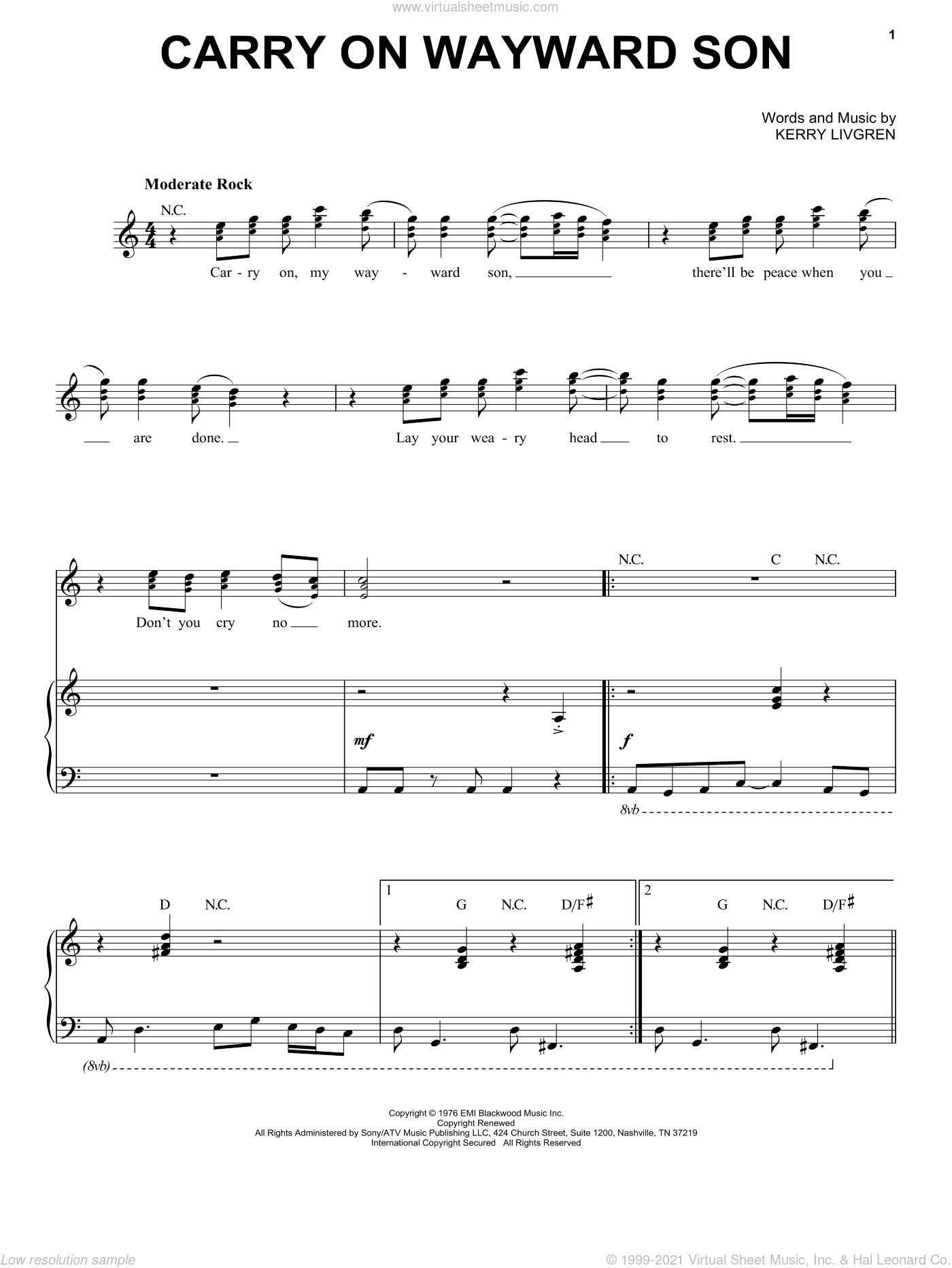 Carry On Wayward Son sheet music for voice and piano by Kansas and Kerry Livgren, intermediate skill level
