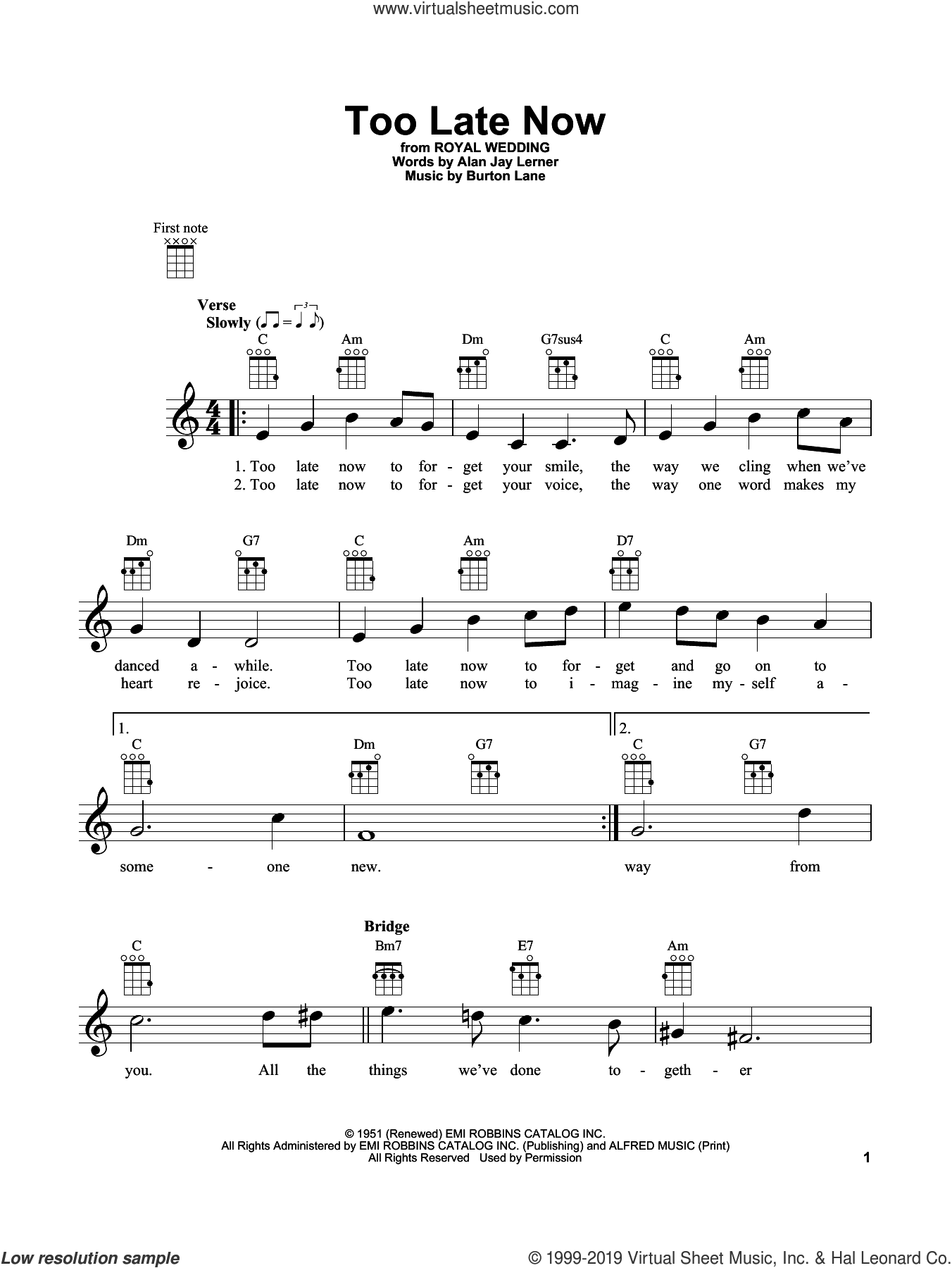 Too Late Now sheet music for ukulele by Tommy Flanagan, Alan Jay Lerner and Burton Lane, intermediate skill level