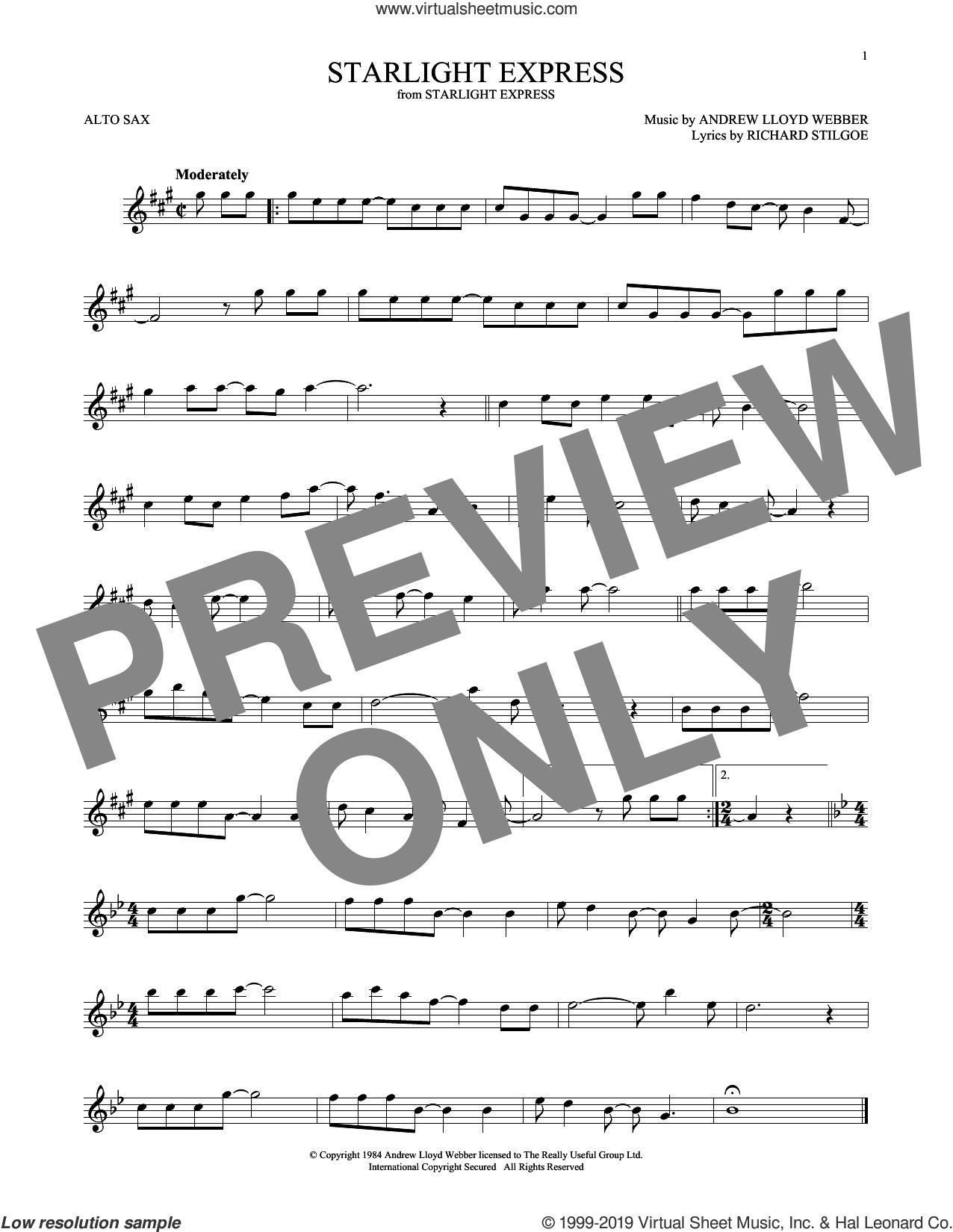 Starlight Express sheet music for alto saxophone solo by Andrew Lloyd Webber and Richard Stilgoe, intermediate skill level