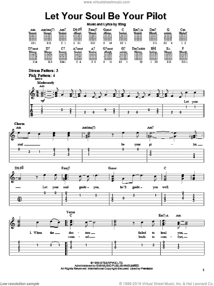 Let Your Soul Be Your Pilot sheet music for guitar solo (easy tablature) by Sting. Score Image Preview.