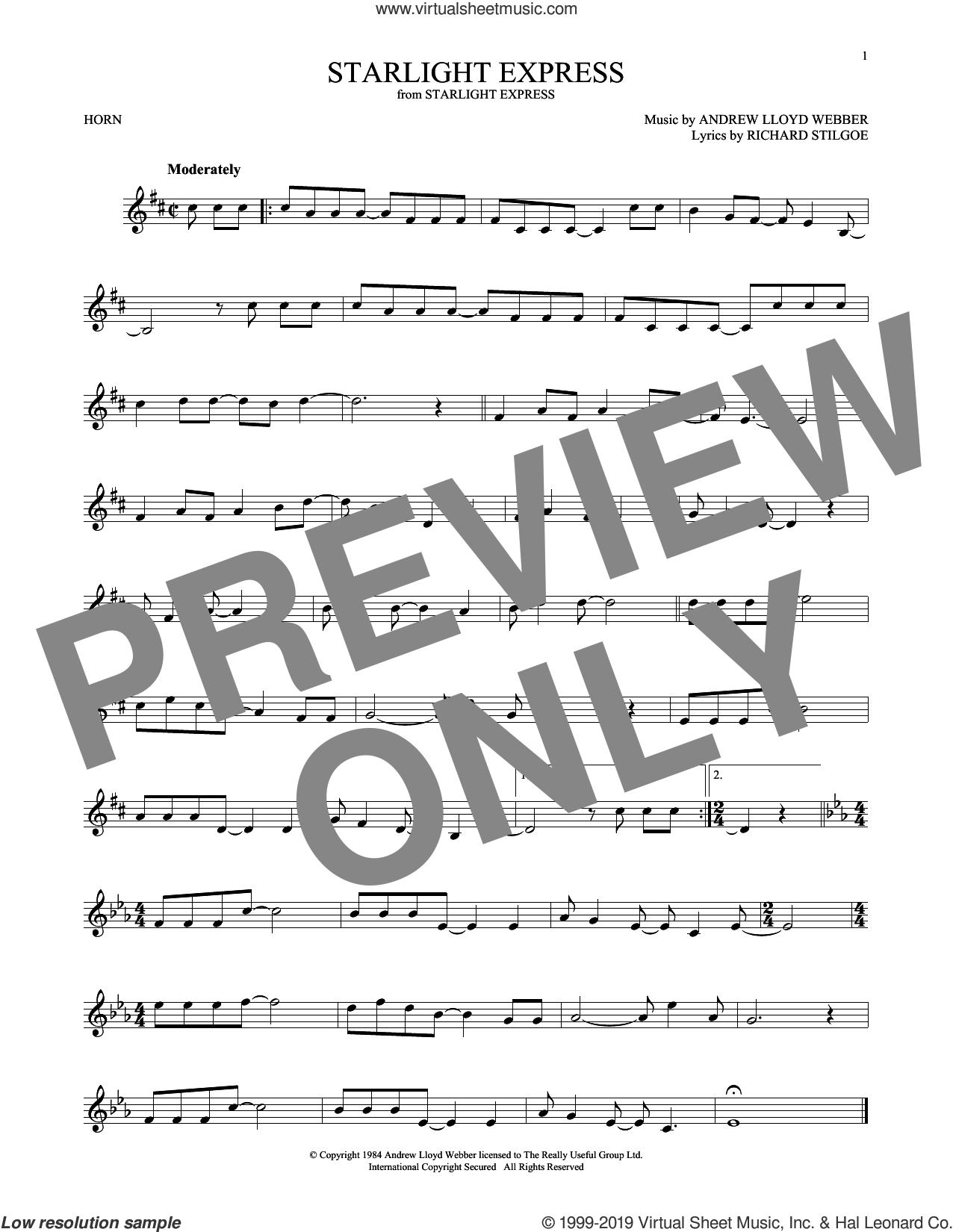 Starlight Express sheet music for horn solo by Andrew Lloyd Webber and Richard Stilgoe, intermediate skill level