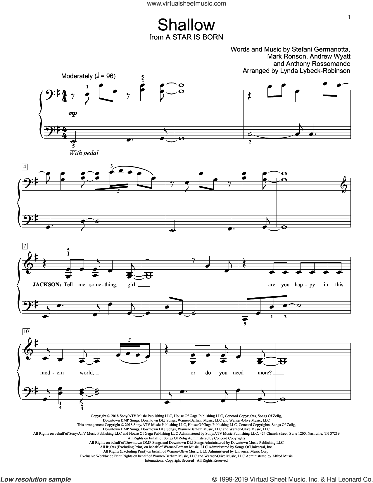 Shallow (from A Star Is Born) (arr. Lynda Lybeck-Robinson) sheet music for piano solo (elementary) by Lady Gaga & Bradley Cooper, Lynda Lybeck-Robinson, Andrew Wyatt, Anthony Rossomando, Lady Gaga and Mark Ronson, beginner piano (elementary)