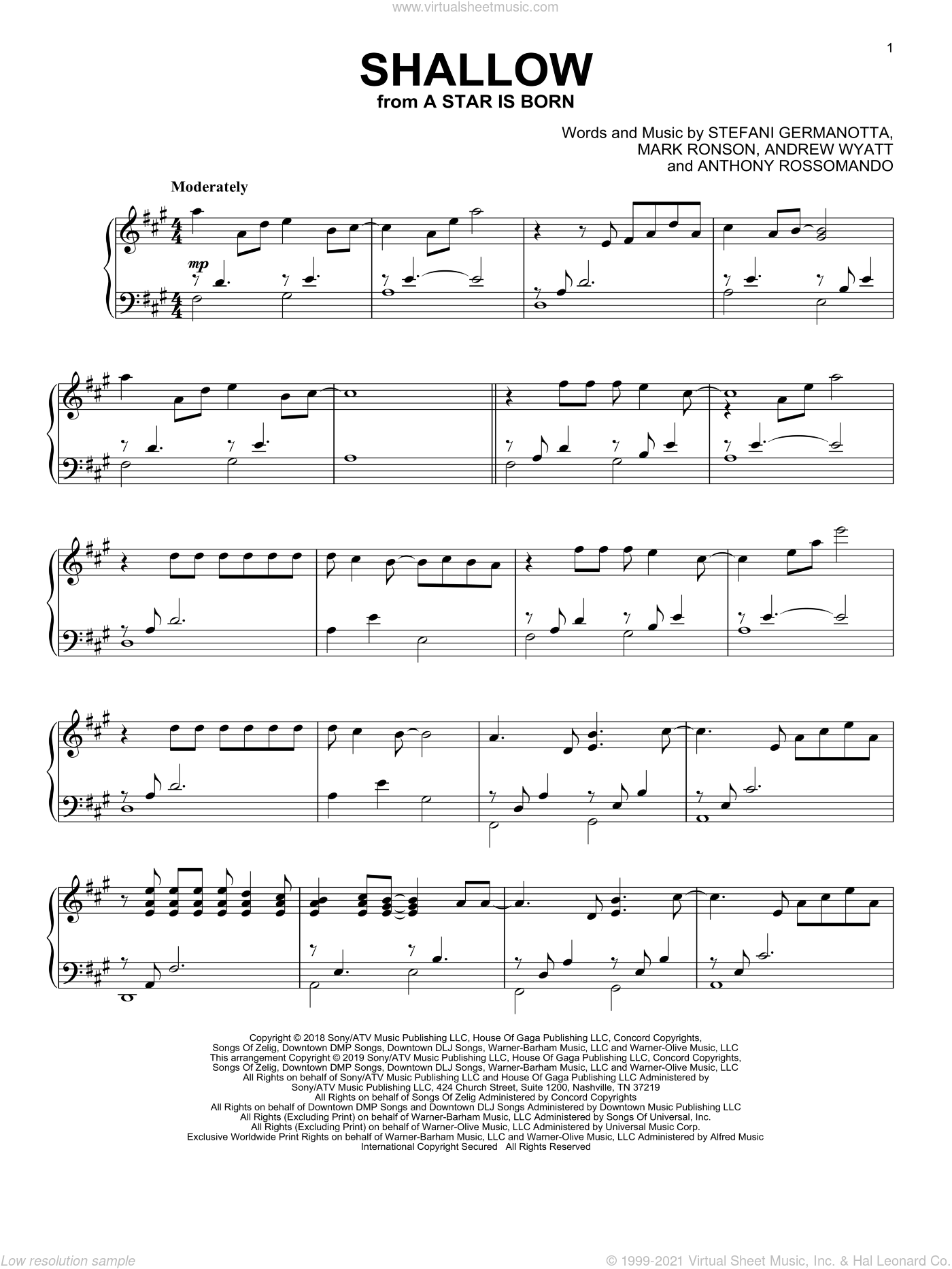 Shallow (from A Star Is Born) sheet music for piano solo by Lady Gaga & Bradley Cooper, Andrew Wyatt, Anthony Rossomando, Lady Gaga and Mark Ronson, intermediate skill level