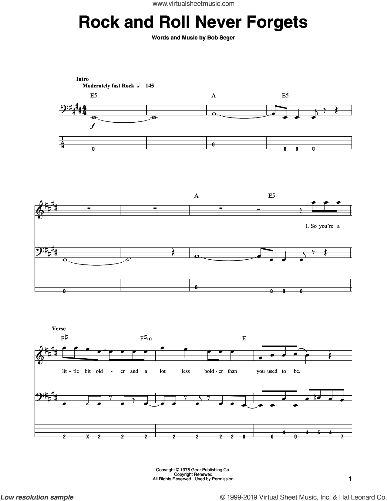 Rock And Roll Never Forgets sheet music for bass (tablature) (bass guitar) by Bob Seger, intermediate skill level