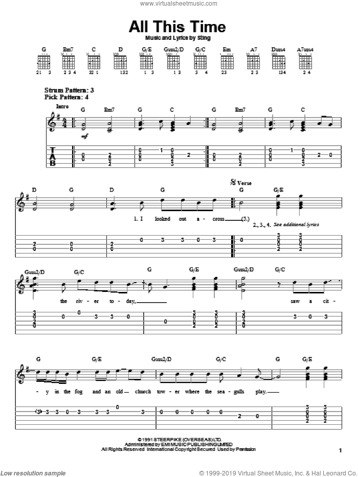 All This Time sheet music for guitar solo (easy tablature) by Sting. Score Image Preview.