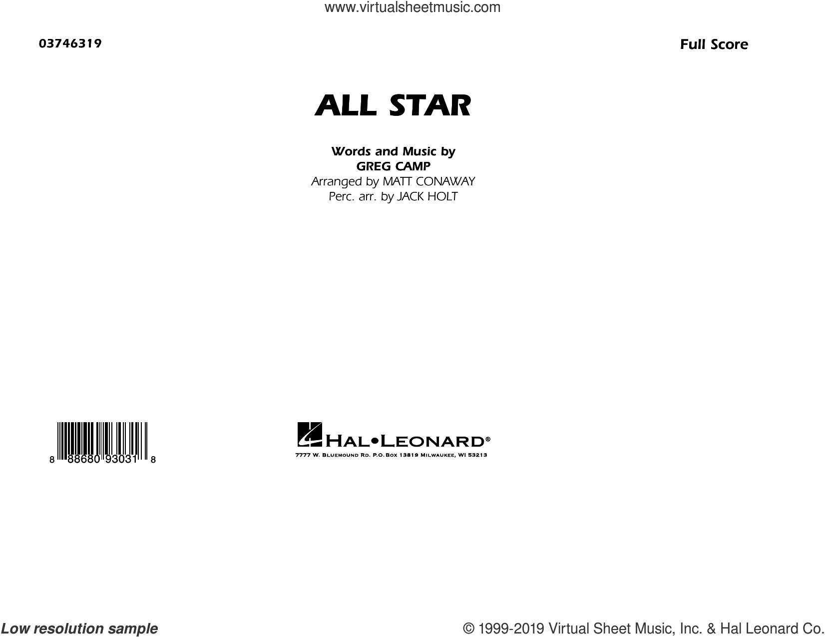 All Star (arr. Matt Conaway) (COMPLETE) sheet music for marching band by Smash Mouth and Greg Camp, intermediate skill level