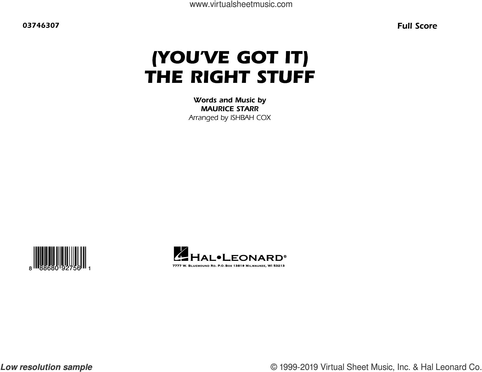 (You've Got It) The Right Stuff (arr. Ishbah Cox) (COMPLETE) sheet music for marching band by Ishbah Cox, Maurice Starr and New Kids On The Block, intermediate skill level