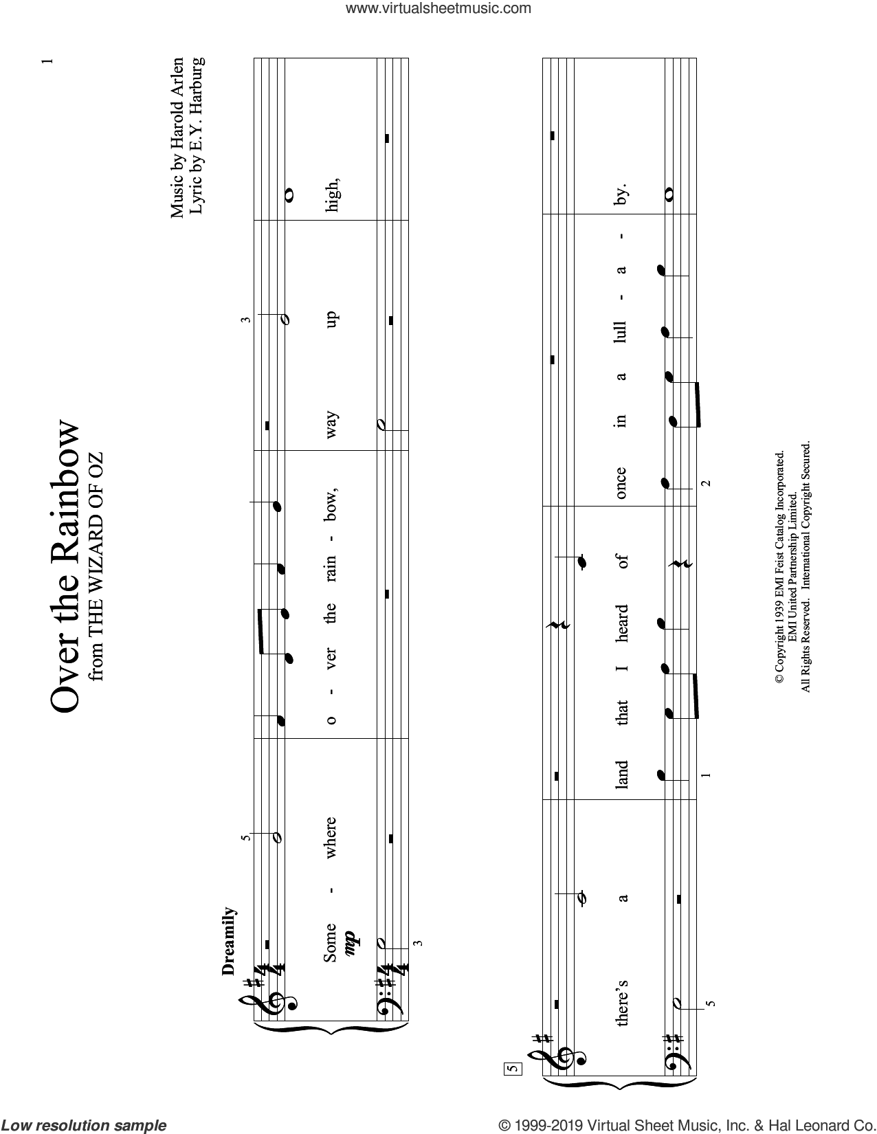 Over The Rainbow (from The Wizard Of Oz) (arr. Christopher Hussey) sheet music for piano solo (elementary) by Harold Arlen, Christopher Hussey and E.Y. Harburg, beginner piano (elementary)