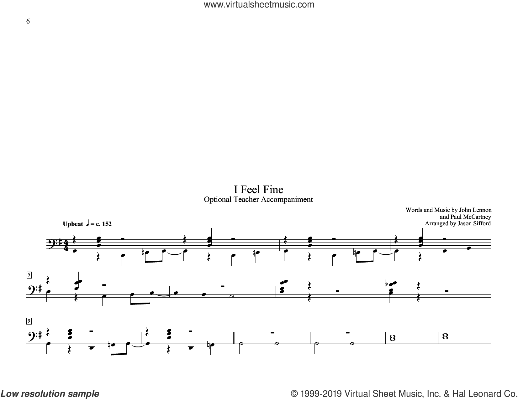 I Feel Fine (arr. Jason Sifford) sheet music for piano solo (elementary) by The Beatles, Jason Sifford, John Lennon and Paul McCartney, beginner piano (elementary)