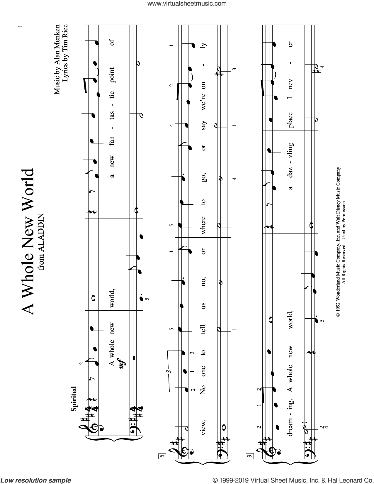 A Whole New World (from Aladdin) (arr. Christopher Hussey) sheet music for piano solo (elementary) by Alan Menken, Christopher Hussey and Tim Rice, beginner piano (elementary)