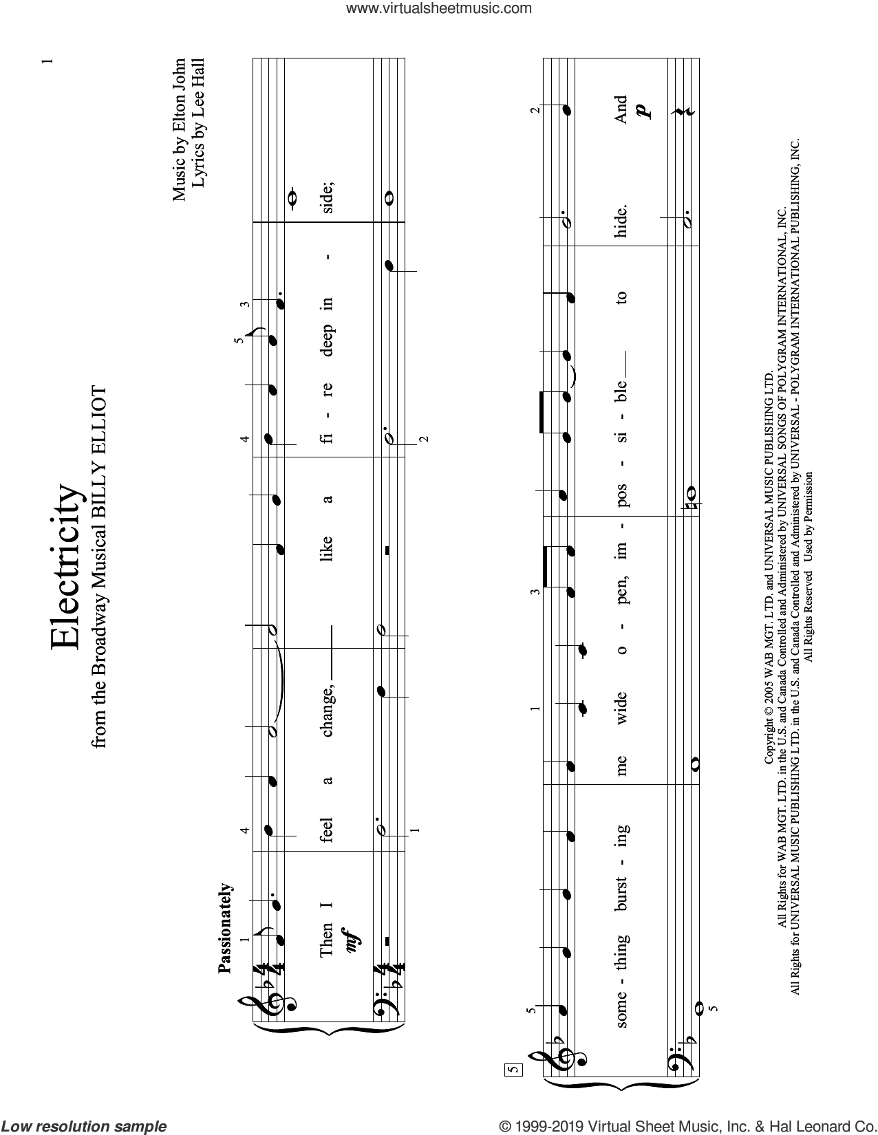 Electricity (arr. Christopher Hussey) sheet music for piano solo (elementary) by Elton John, Christopher Hussey and Lee Hall, beginner piano (elementary)