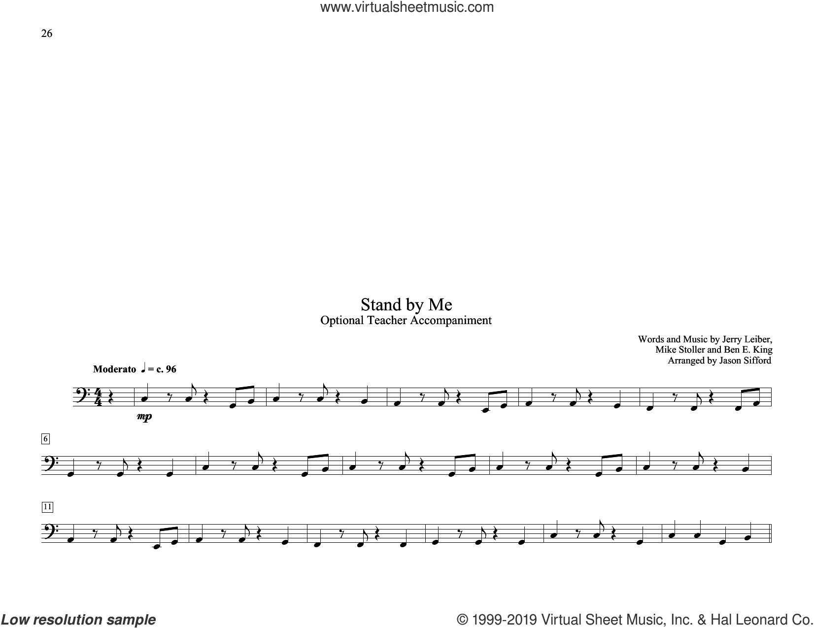 Stand By Me (arr. Jason Sifford) sheet music for piano solo (elementary) by Ben E. King, Jason Sifford, Mickey Gilley, Jerry Leiber and Mike Stoller, beginner piano (elementary)