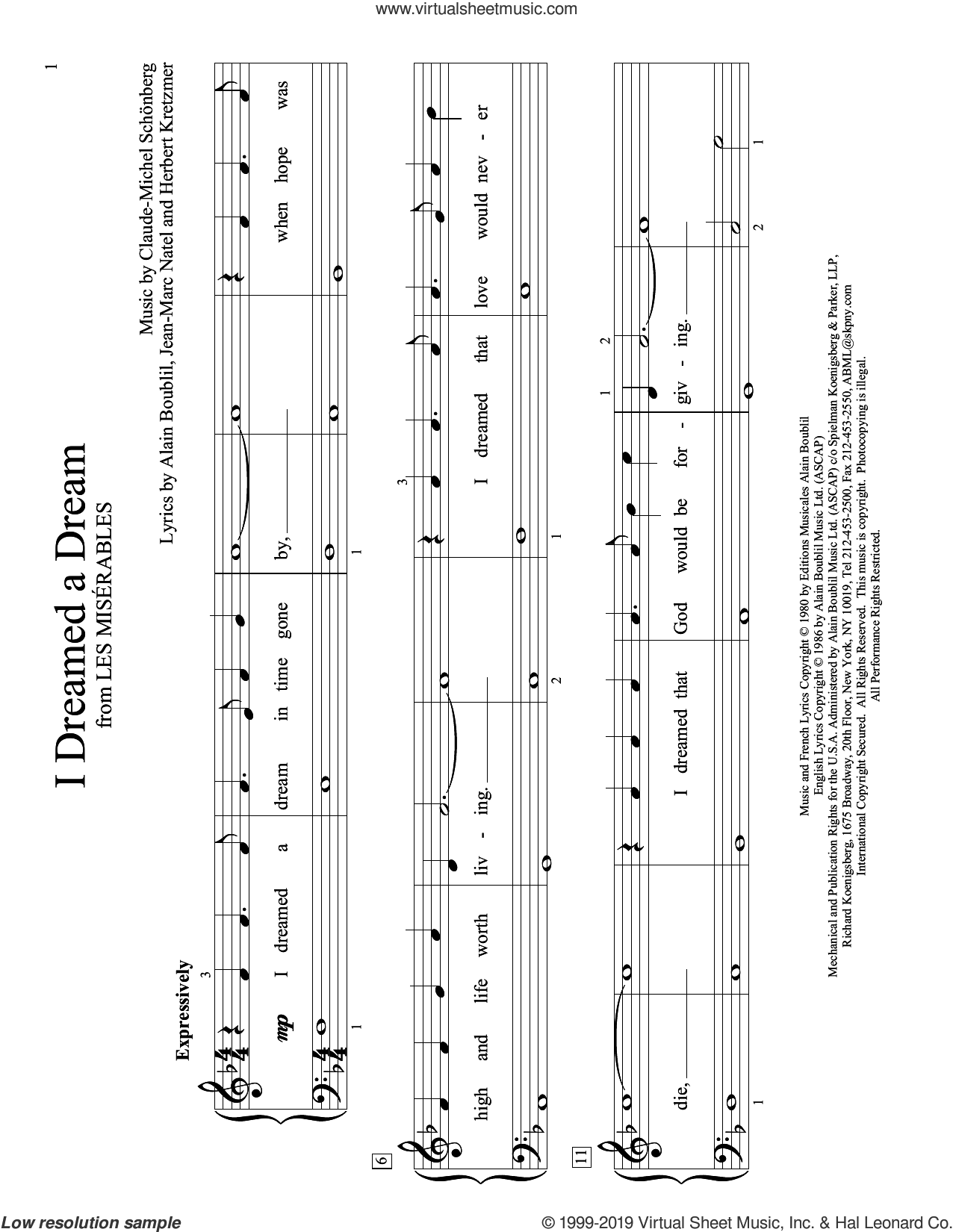 I Dreamed A Dream (from Les Miserables) (arr. Christopher Hussey) sheet music for piano solo (elementary) by Alain Boublil, Christopher Hussey, Glee Cast feat. Idina Menzel, Susan Boyle, Claude-Michel Schonberg, Herbert Kretzmer and Jean-Marc Natel, beginner piano (elementary)