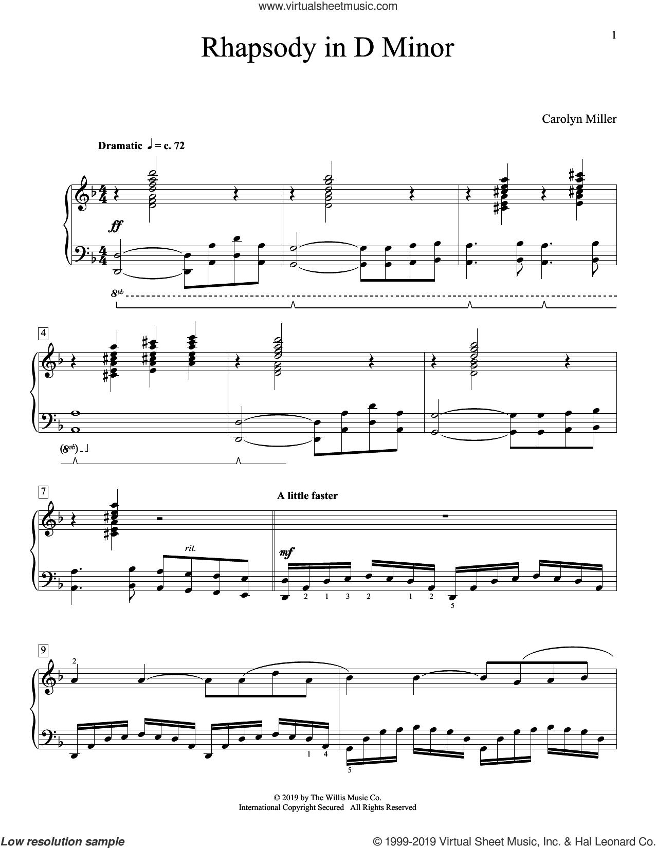 Rhapsody In D Minor sheet music for piano solo (elementary) by Carolyn Miller, beginner piano (elementary)