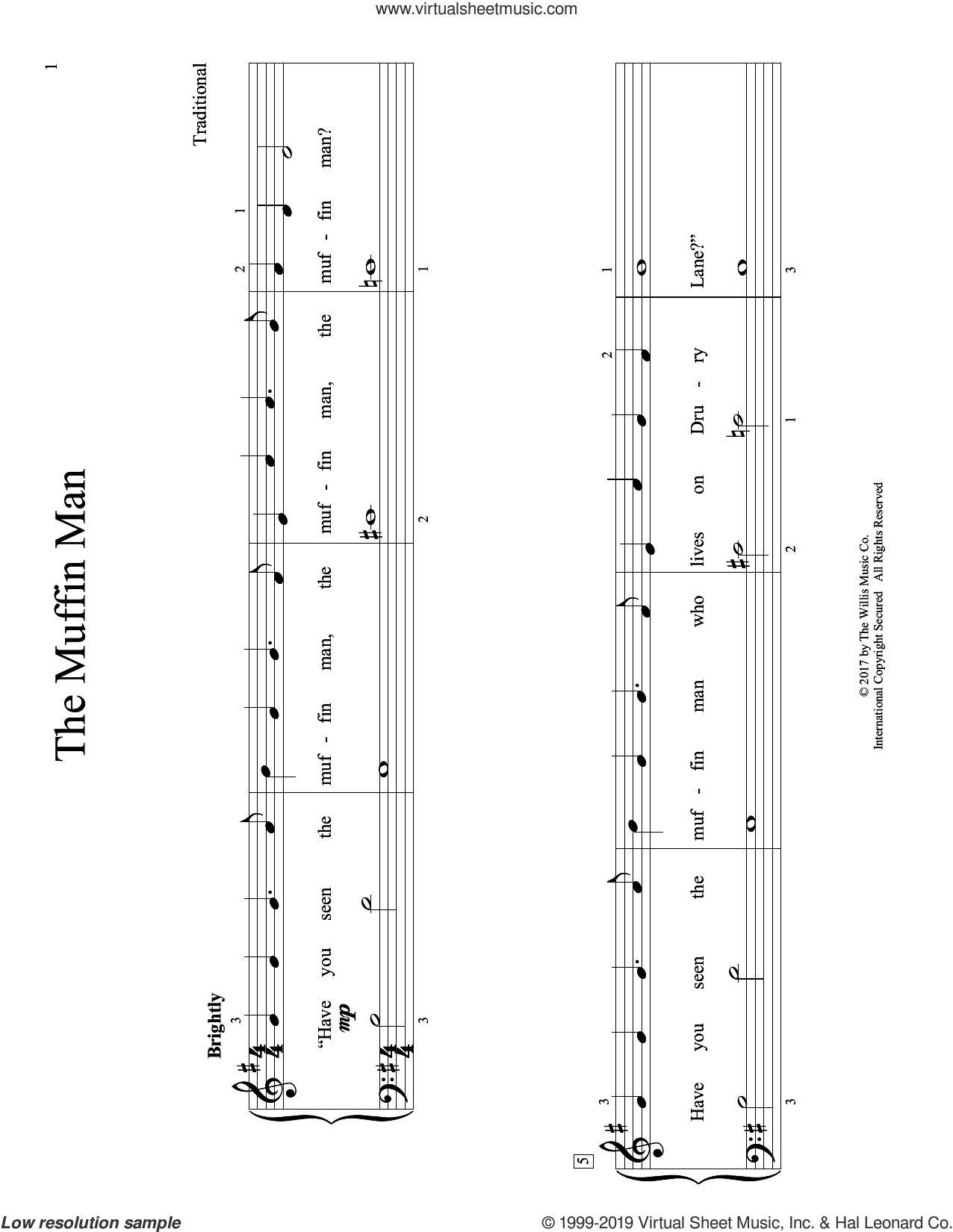 The Muffin Man (arr. Christopher Hussey) sheet music for piano solo (elementary)  and Christopher Hussey, beginner piano (elementary)