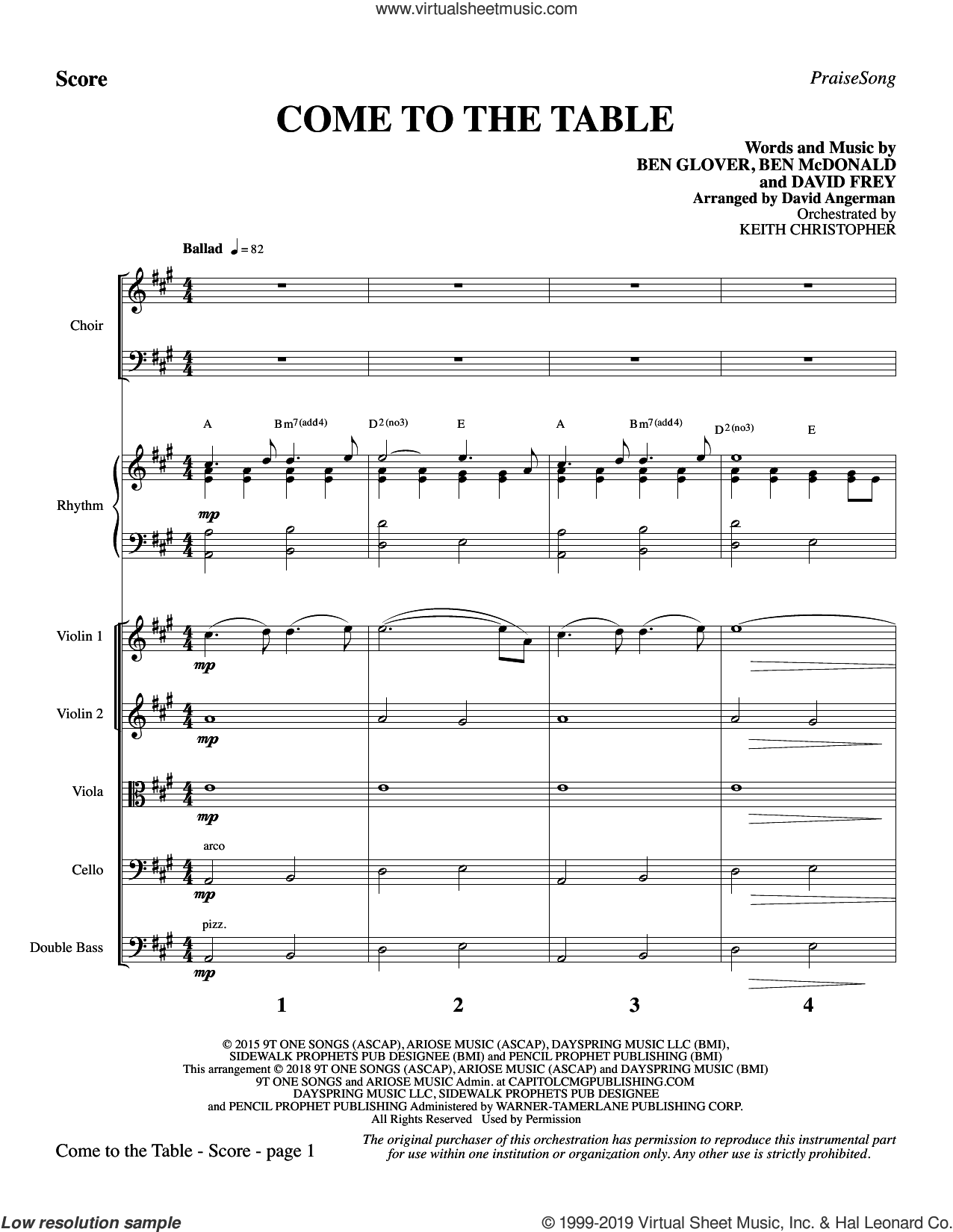 Come to the Table (arr. David Angerman) (COMPLETE) sheet music for orchestra/band by David Angerman, Ben Glover, Ben McDonald, Dave Frey and Sidewalk Prophets, intermediate skill level