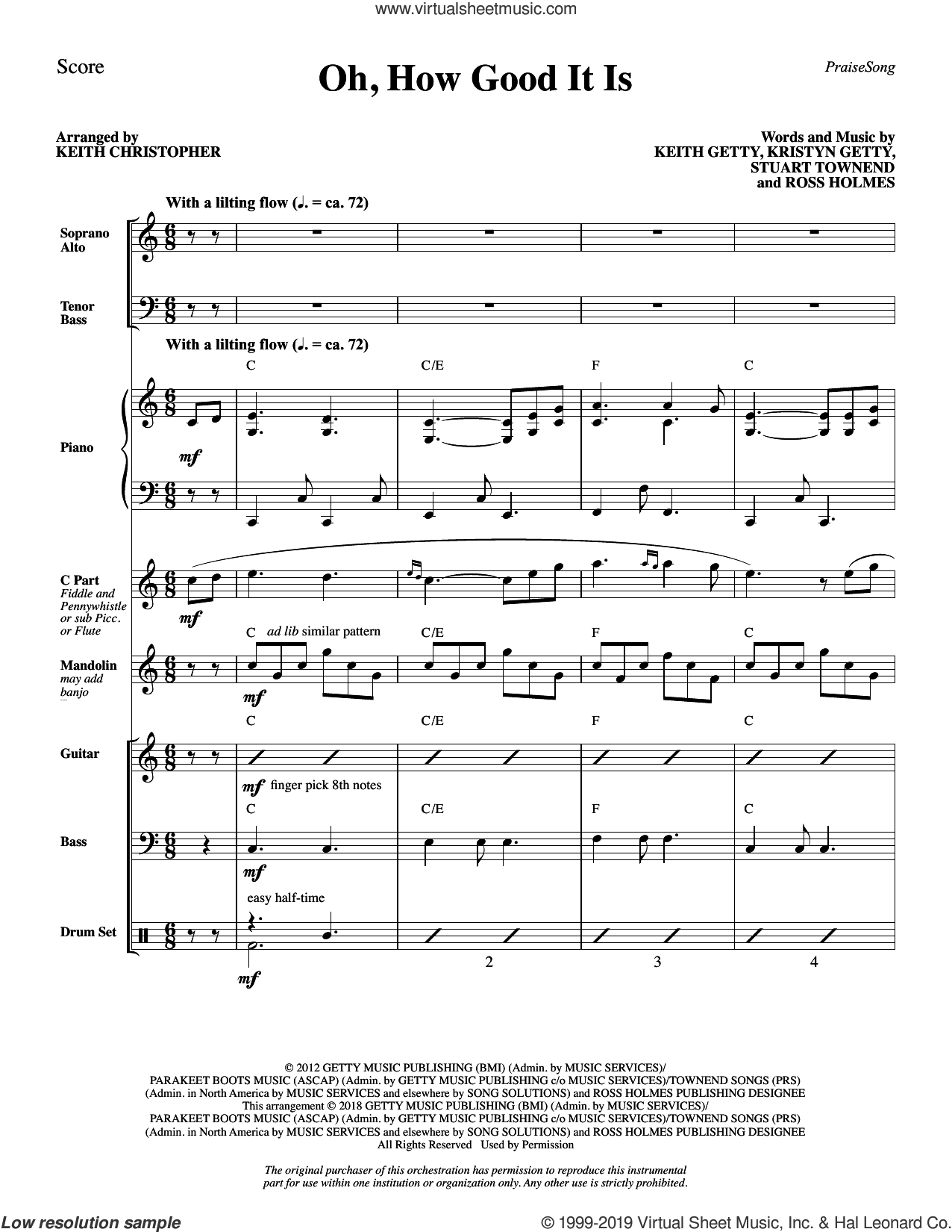 Oh, How Good It Is (arr. Keith Christopher) (COMPLETE) sheet music for orchestra/band by Keith Getty, Keith Getty, Kristyn Getty, Ross Holmes & Stuart Townend, Kristyn Getty, Ross Holmes and Stuart Townend, intermediate skill level