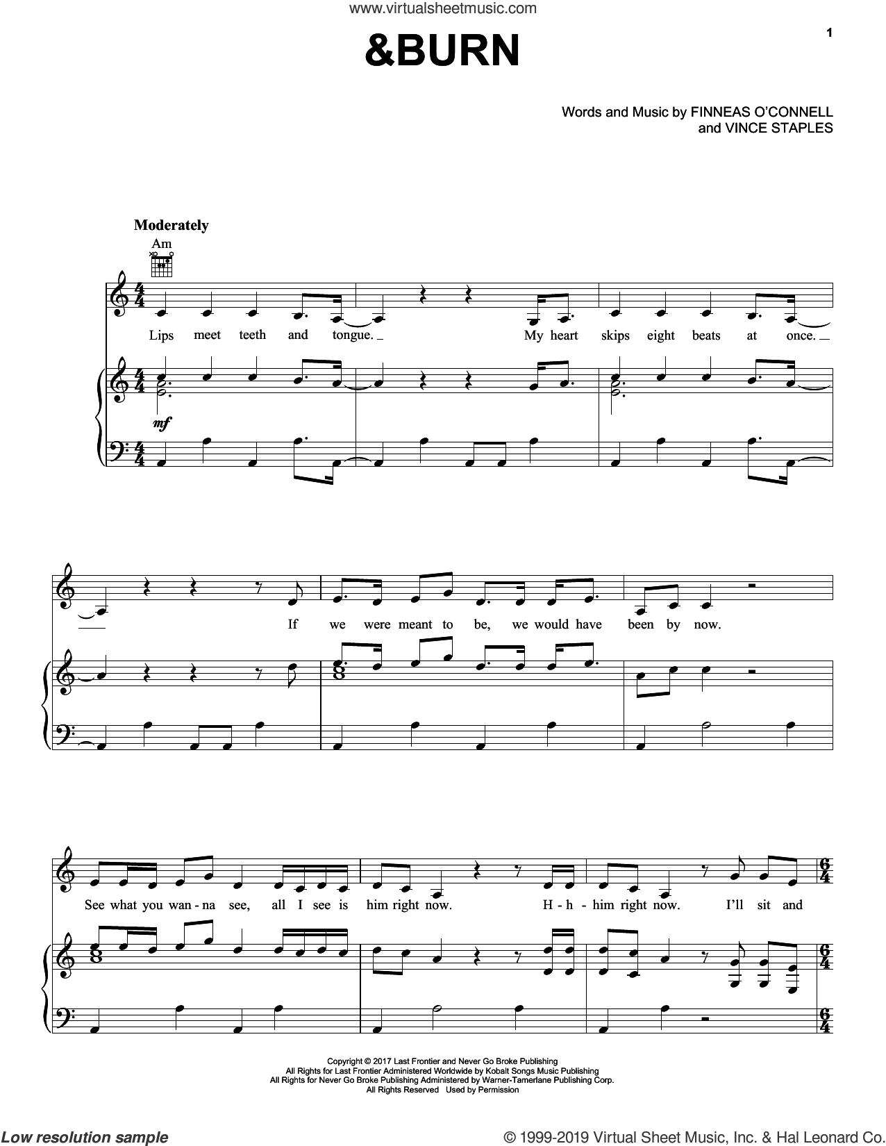 &Burn sheet music for voice, piano or guitar by Billie Eilish and Vince Staples, intermediate skill level