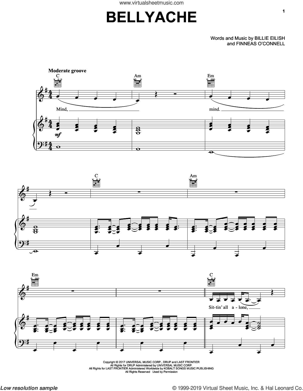 Bellyache sheet music for voice, piano or guitar by Billie Eilish, intermediate skill level