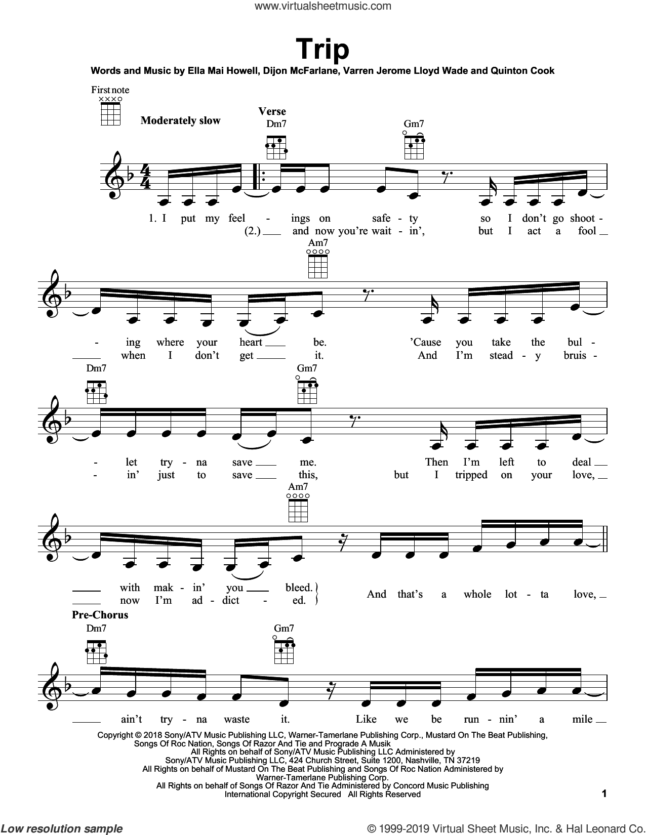 Trip sheet music for ukulele by Ella Mai, Dijon McFarlane, Ella Mai Howell, Quinton and Varren Wade, intermediate skill level