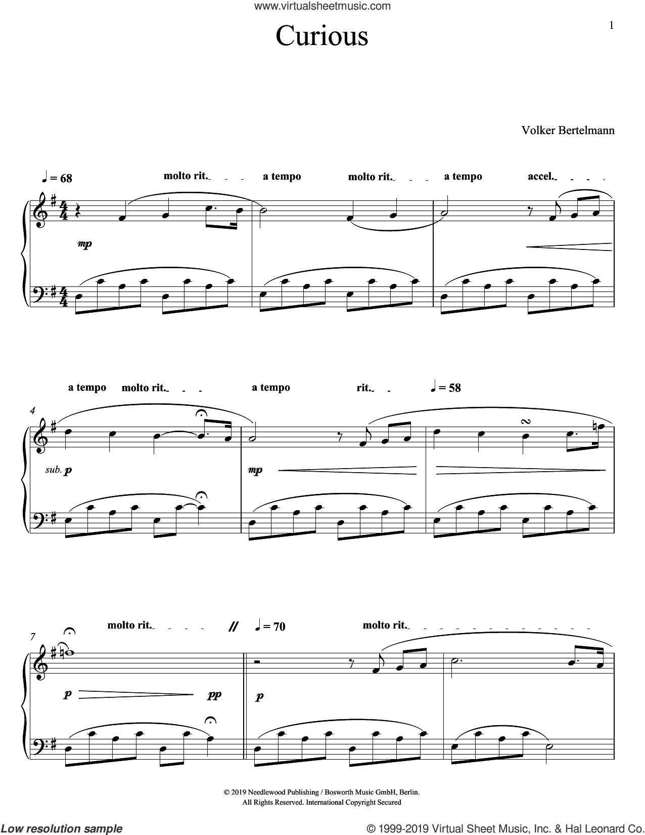 Curious sheet music for piano solo by Hauschka and Volker Bertelmann, classical score, intermediate skill level