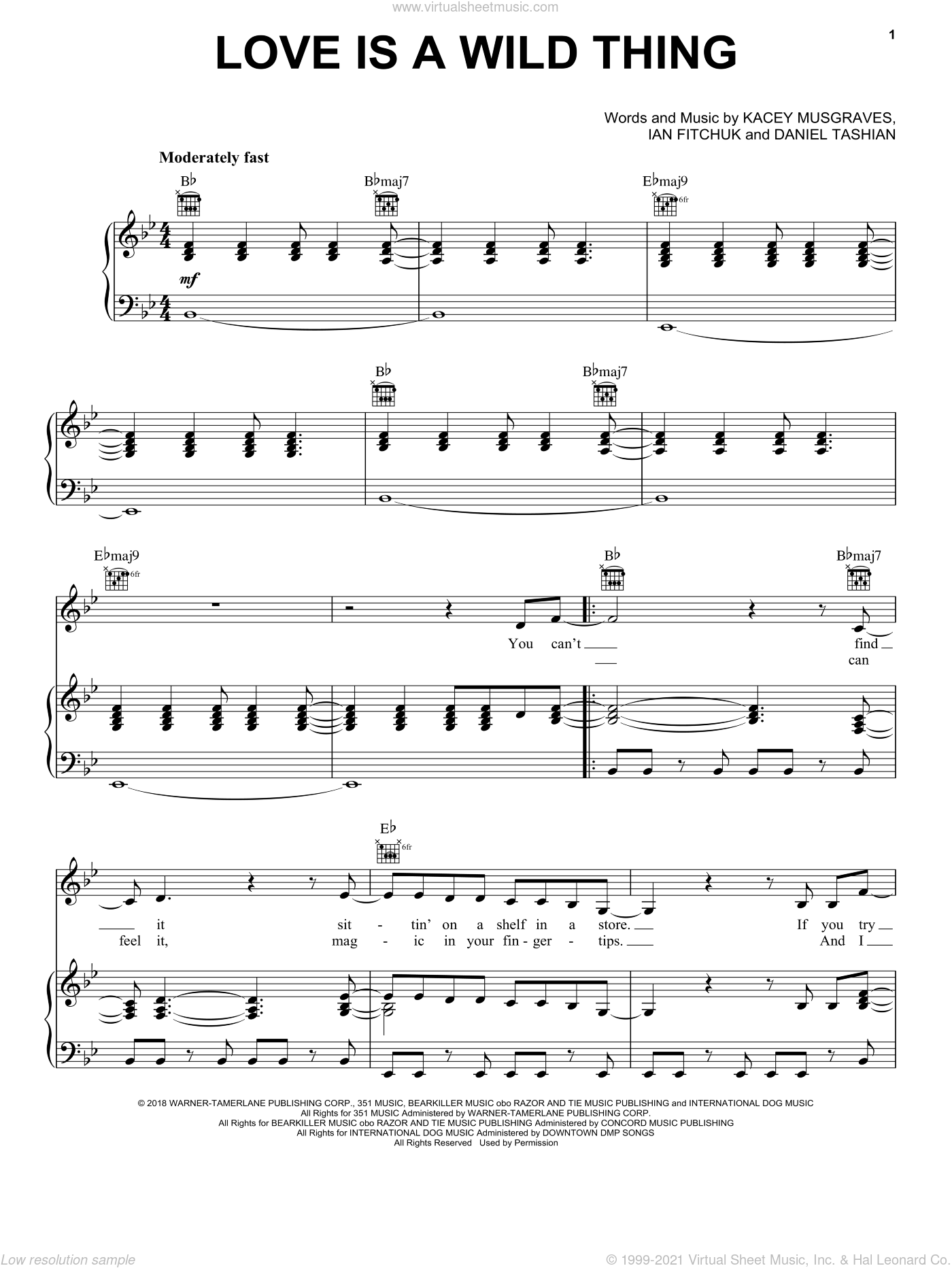Love Is A Wild Thing sheet music for voice, piano or guitar by Kacey Musgraves, Daniel Tashian and Ian Fitchuk, intermediate skill level