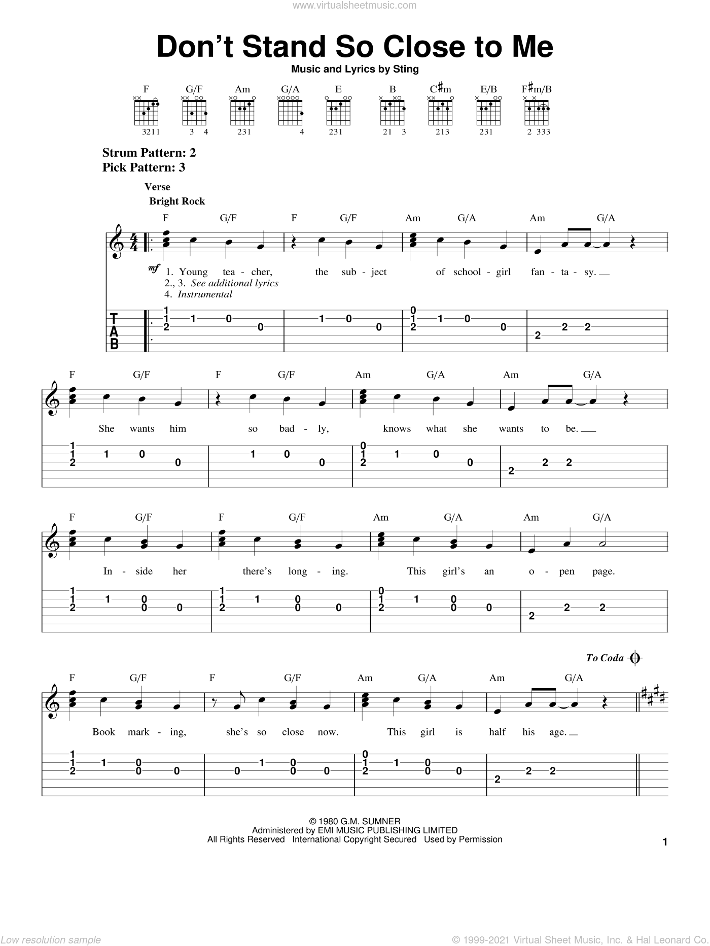 Don't Stand So Close To Me sheet music for guitar solo (easy tablature) by The Police and Sting, easy guitar (easy tablature)